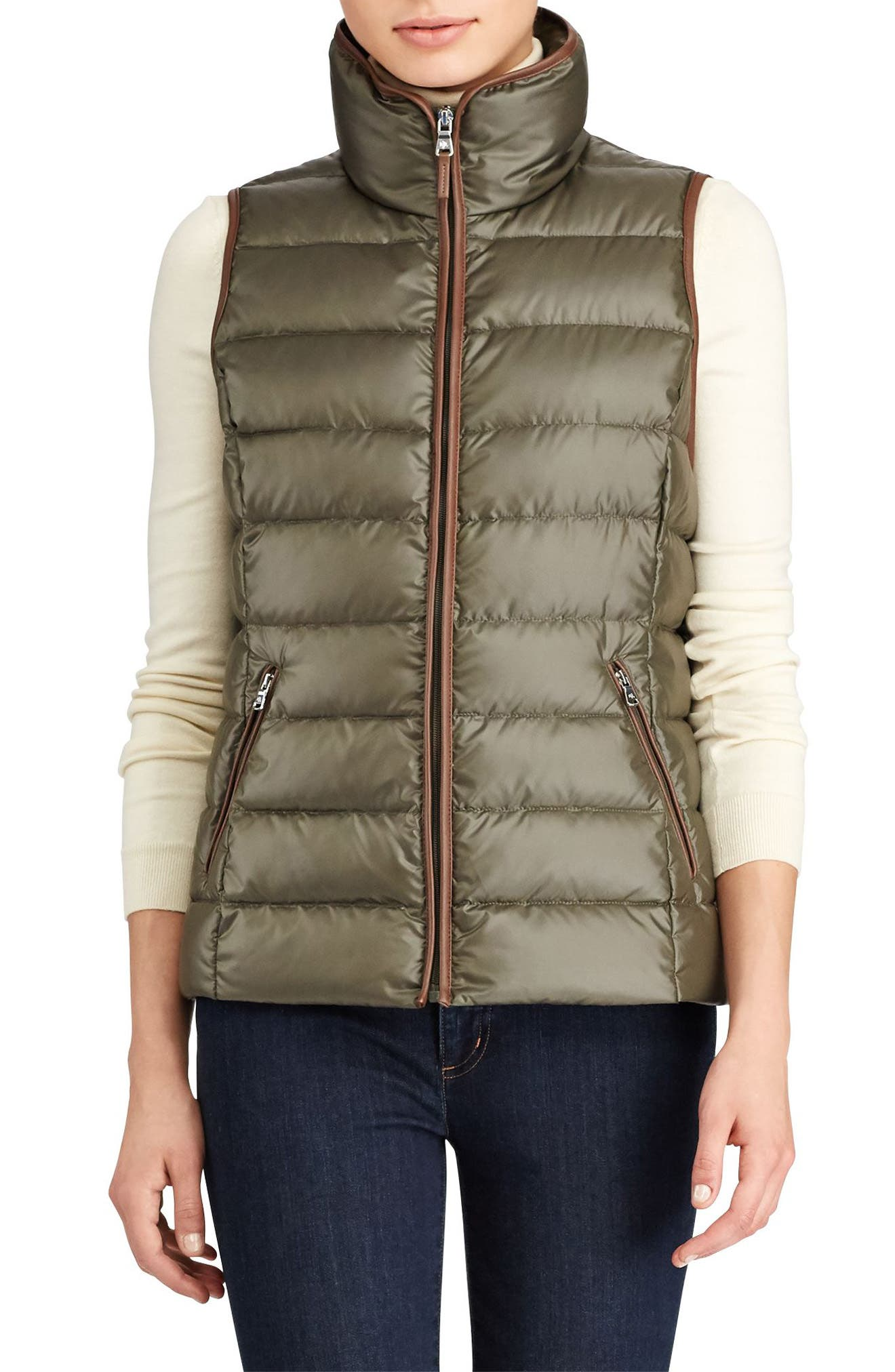 Quilted Down Vest,                         Main,                         color, Soft Loden