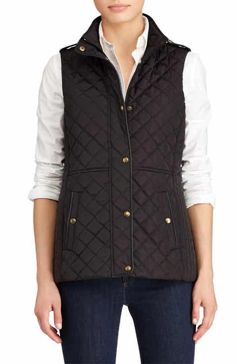 Lauren Ralph Lauren Faux Leather Trim Quilted Vest (Regular & Petite) - Vests Petite Clothing Nordstrom Nordstrom
