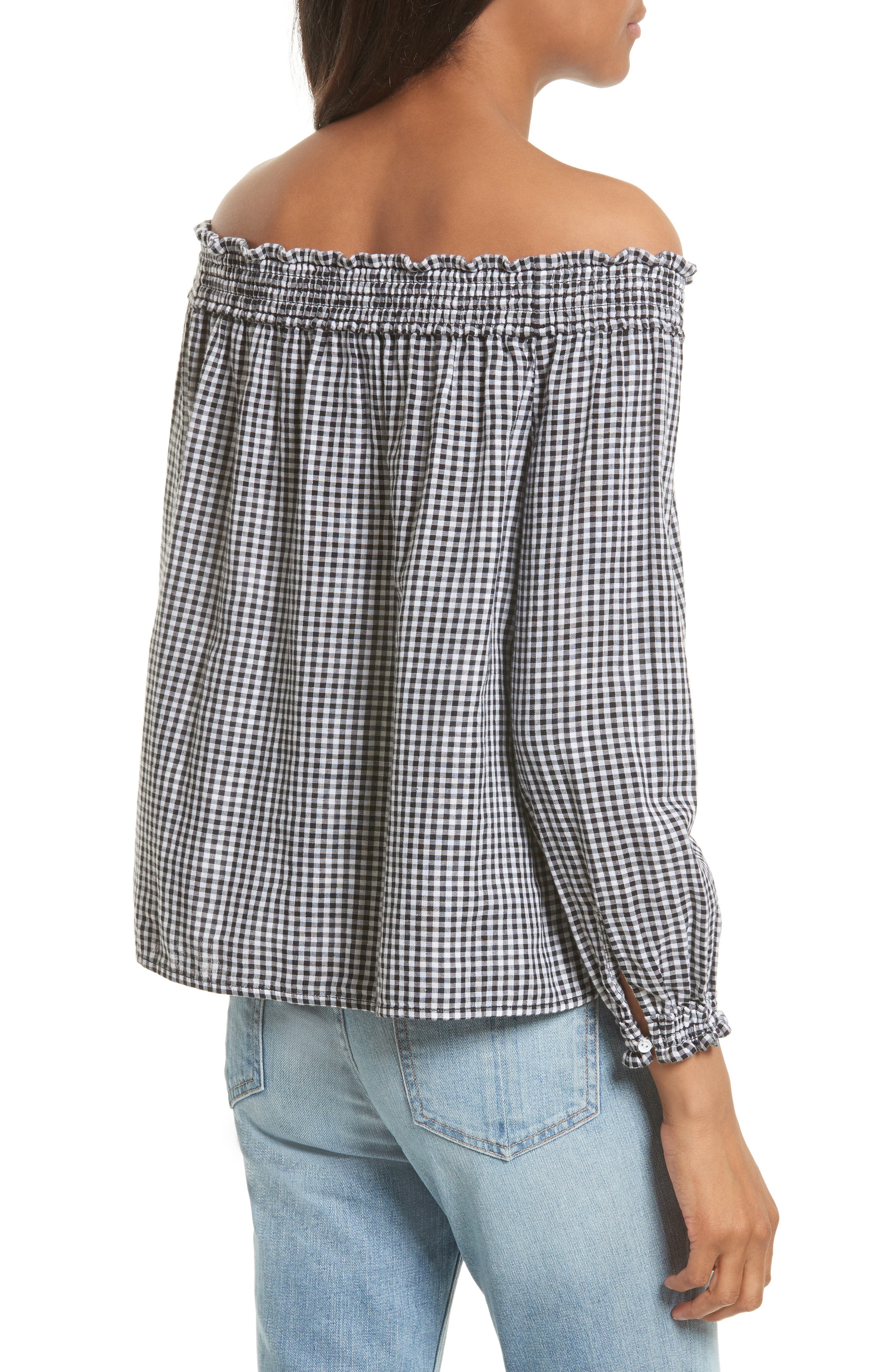 Drew Gingham Off the Shoulder Top,                             Alternate thumbnail 2, color,                             Black/ White