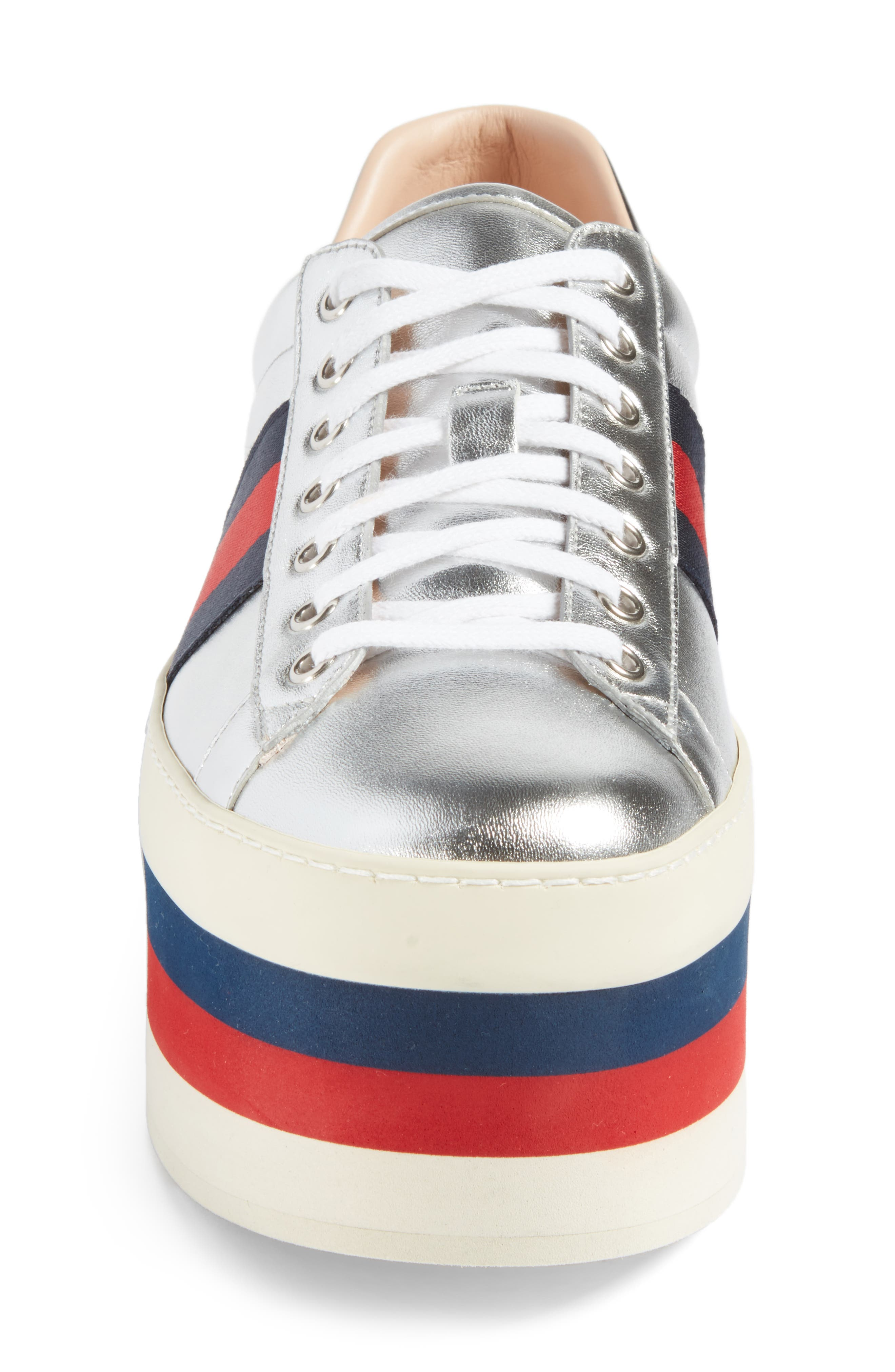 New Ace Platform Sneaker,                             Alternate thumbnail 4, color,                             Silver Multi