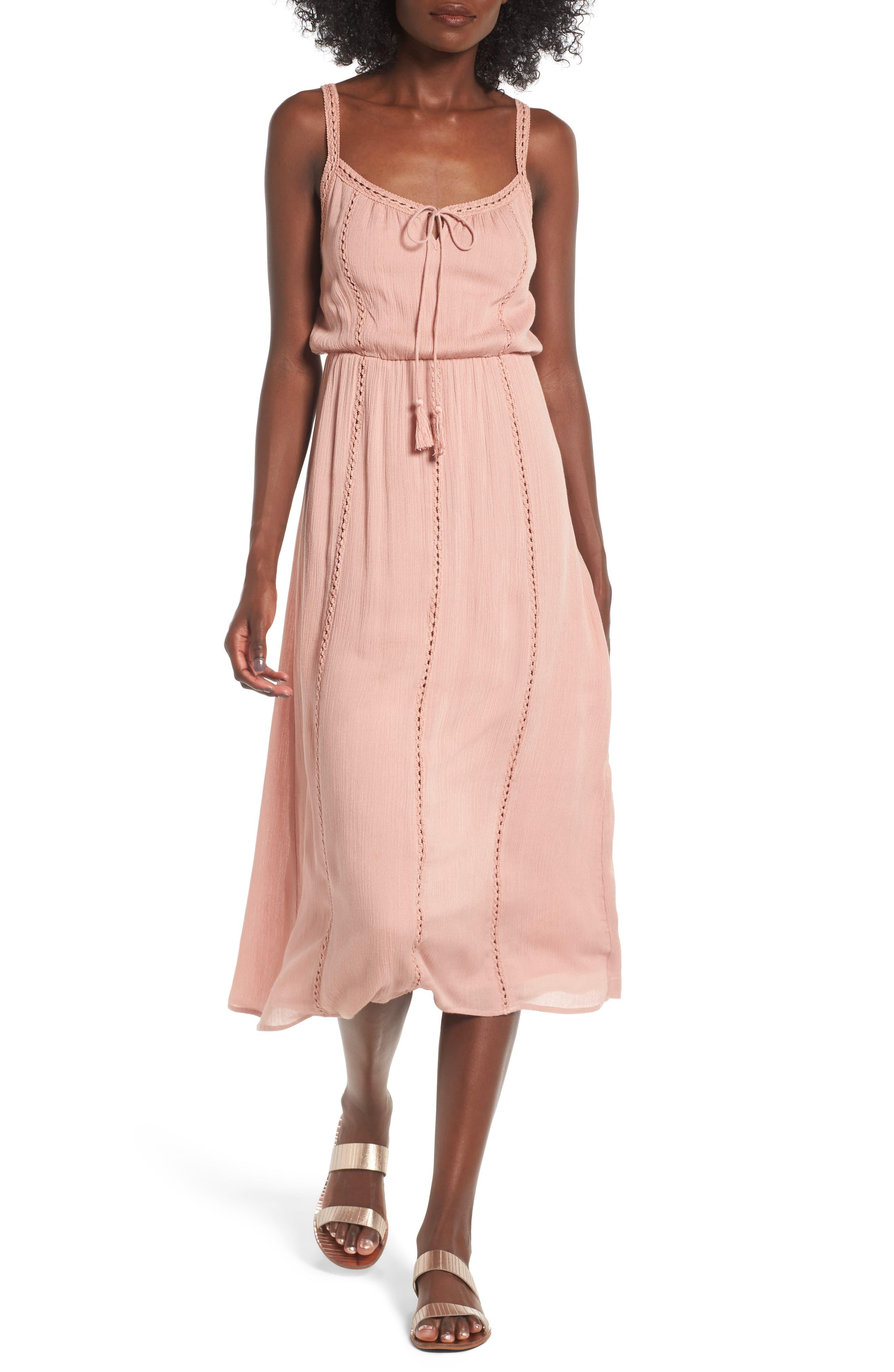 Ladder Trim Midi Dress,                         Main,                         color, Dusty Blush