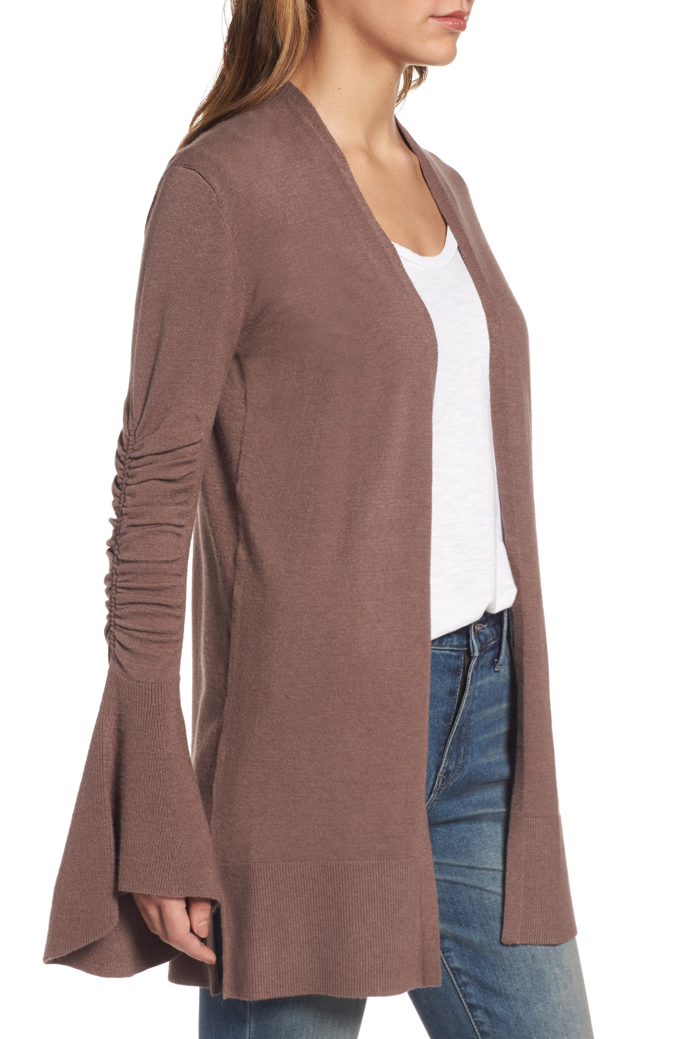 Ruched Bell Sleeve Cardigan,                             Alternate thumbnail 3, color,                             Brown Taupe