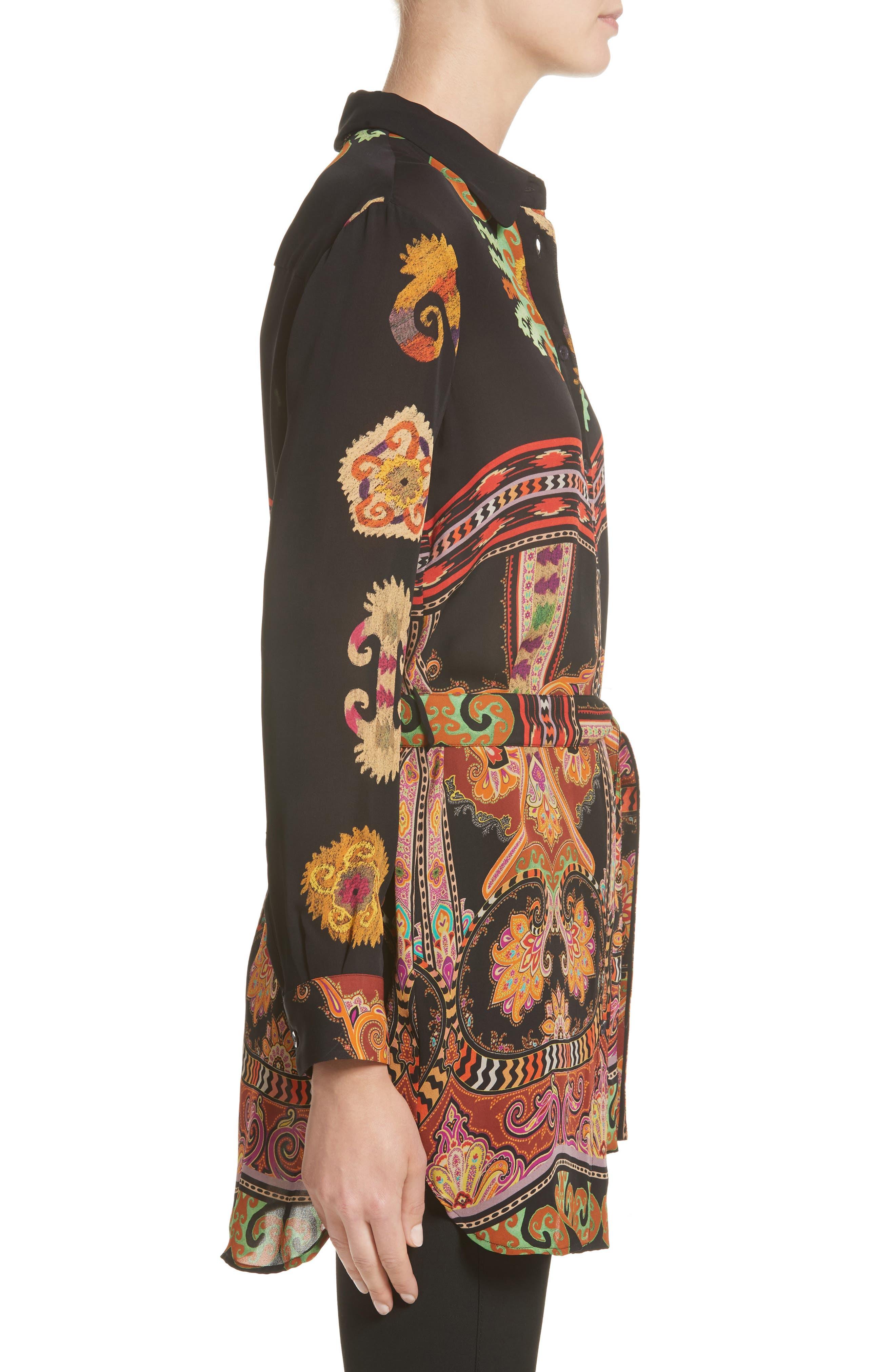 Suzani Print Silk Tunic,                             Alternate thumbnail 5, color,                             Black