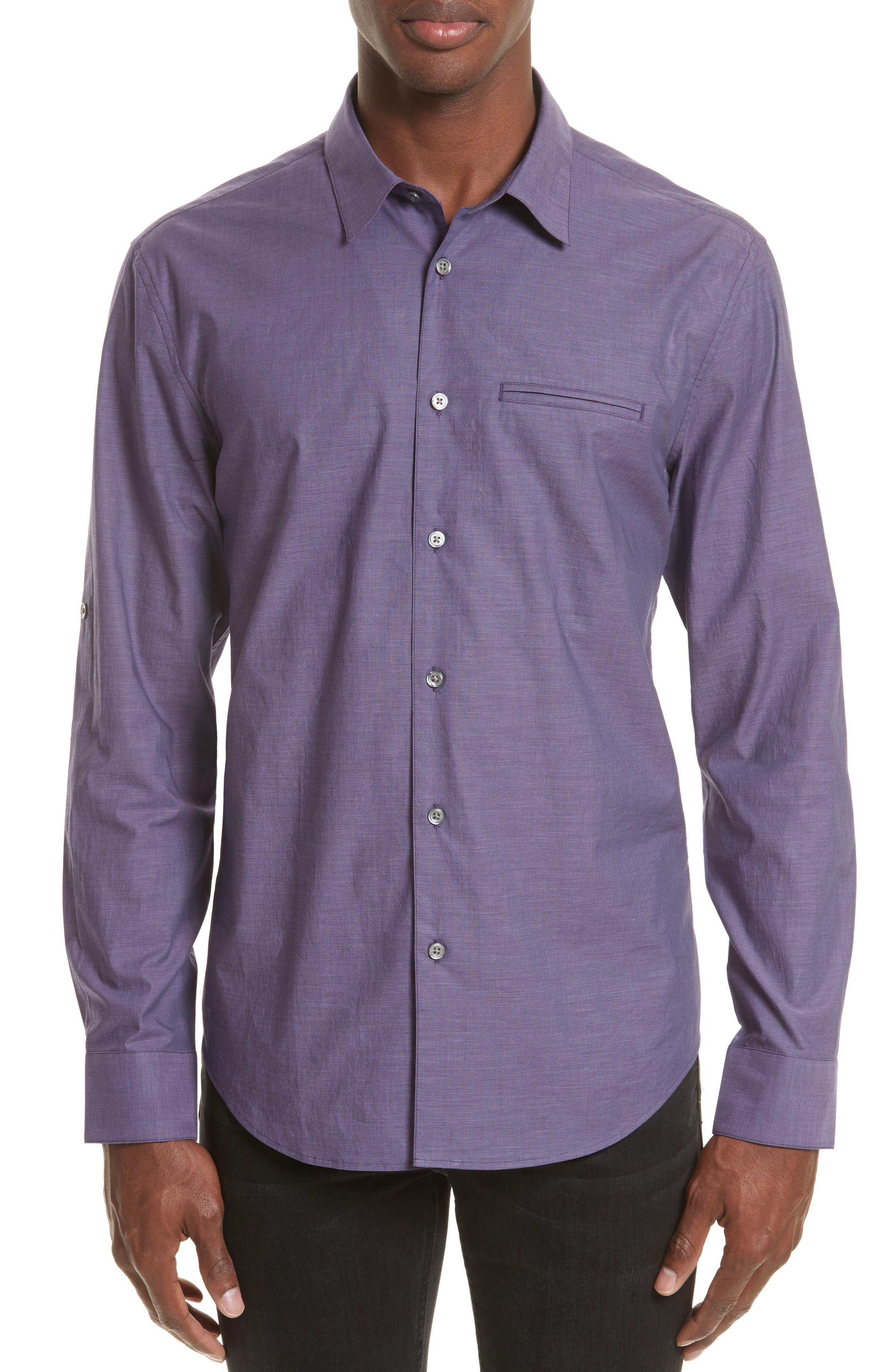 John Varvatos Collection Roll Sleeve Cotton Sport Shirt
