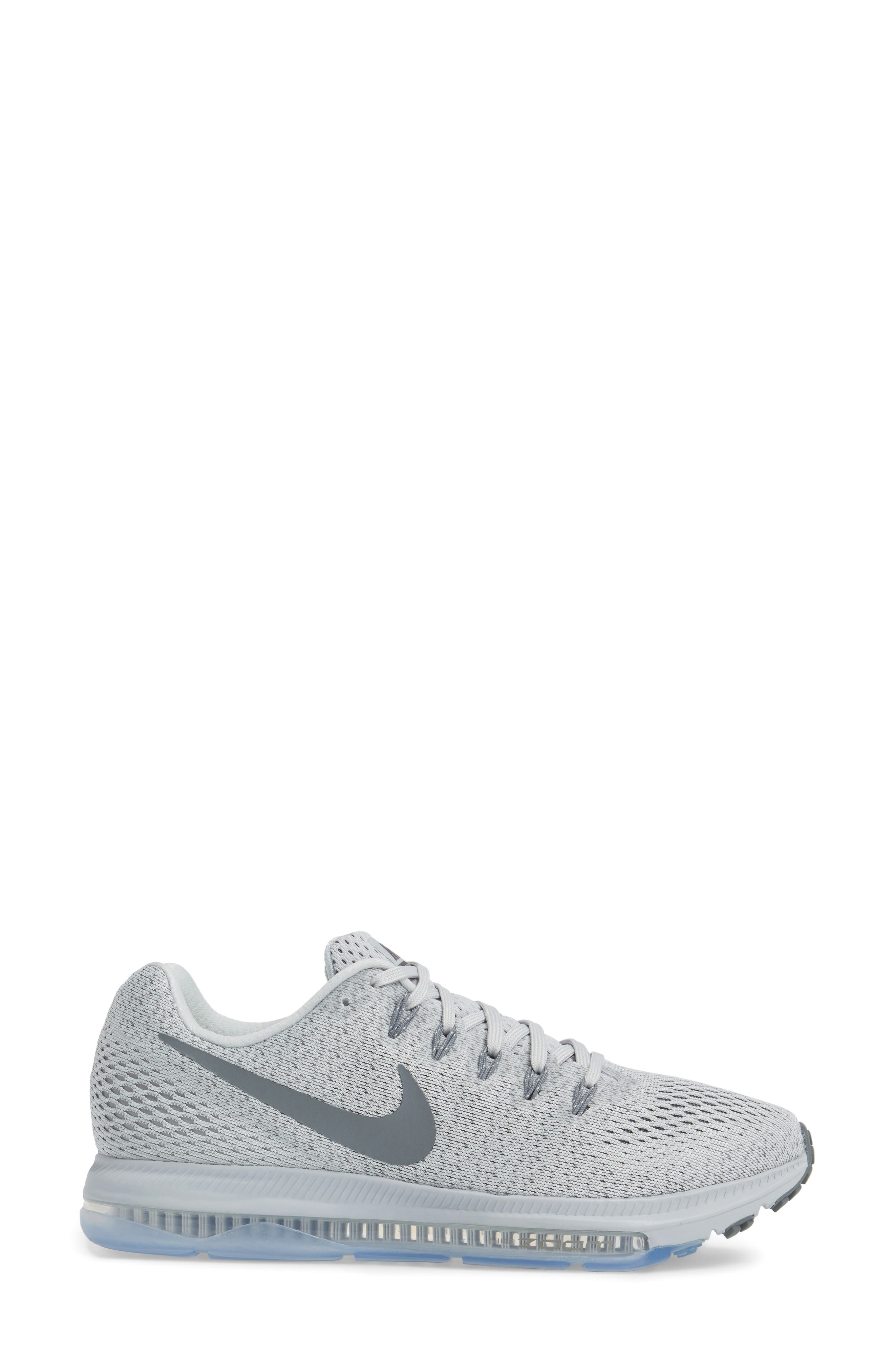 Air Zoom All Out Running Shoe,                             Alternate thumbnail 3, color,                             Platinum/ Cool Grey/ Wolf Grey