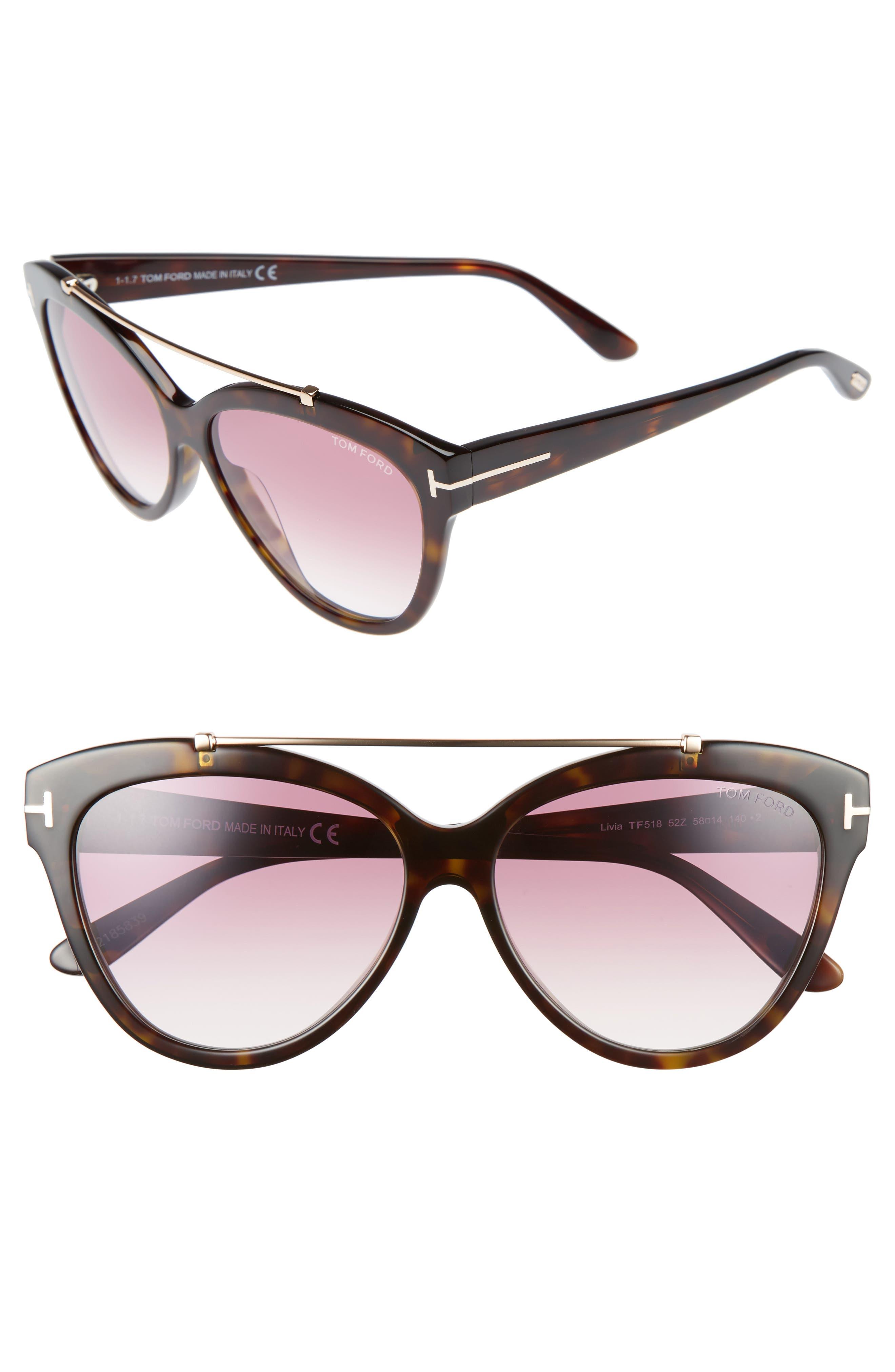 Livia 58mm Gradient Butterfly Sunglasses,                         Main,                         color, Havana/ Rose Gold/ Purple