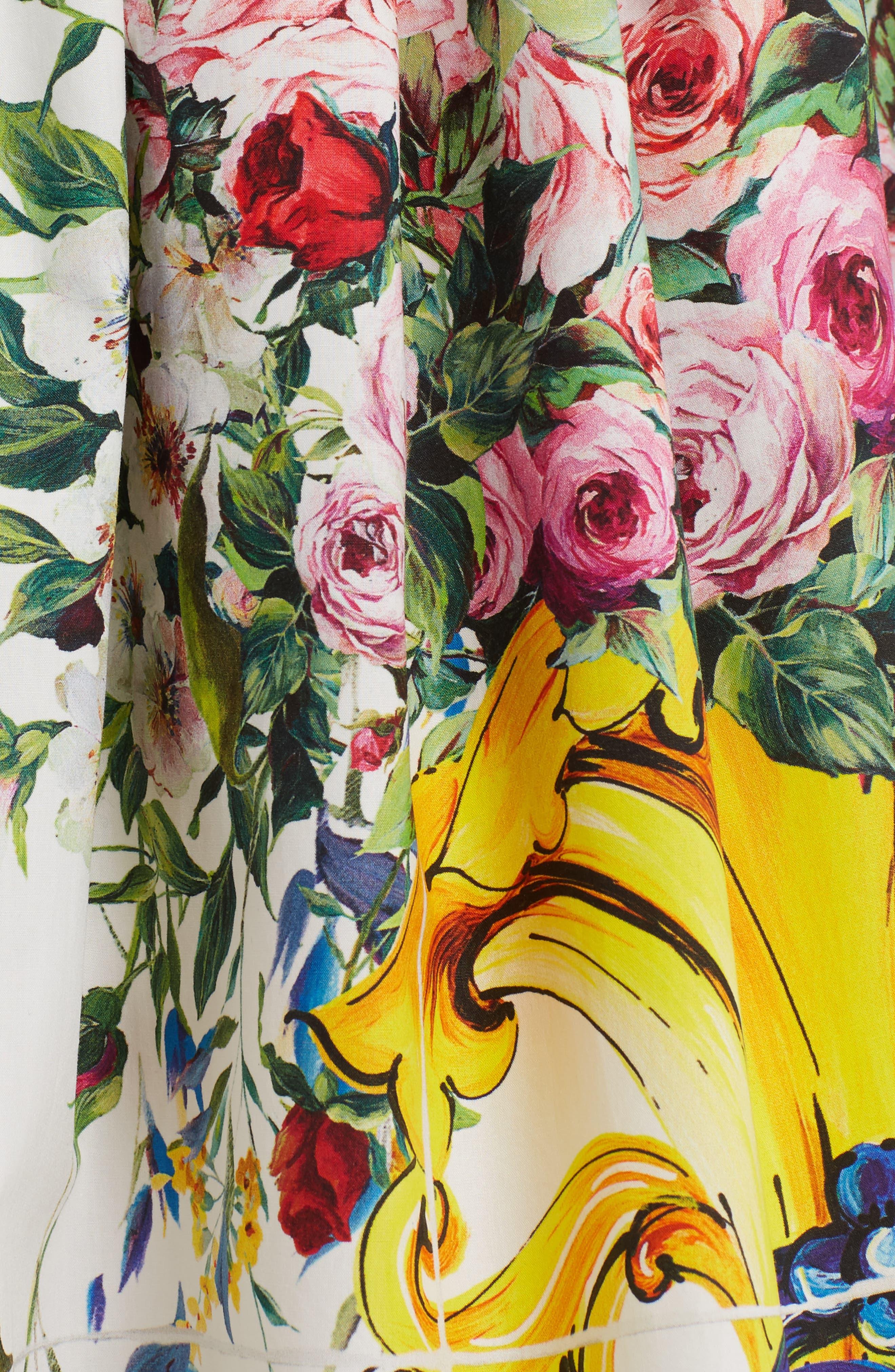 Pleated Cotton Poplin Skirt,                             Alternate thumbnail 3, color,                             Maioliche Prnt