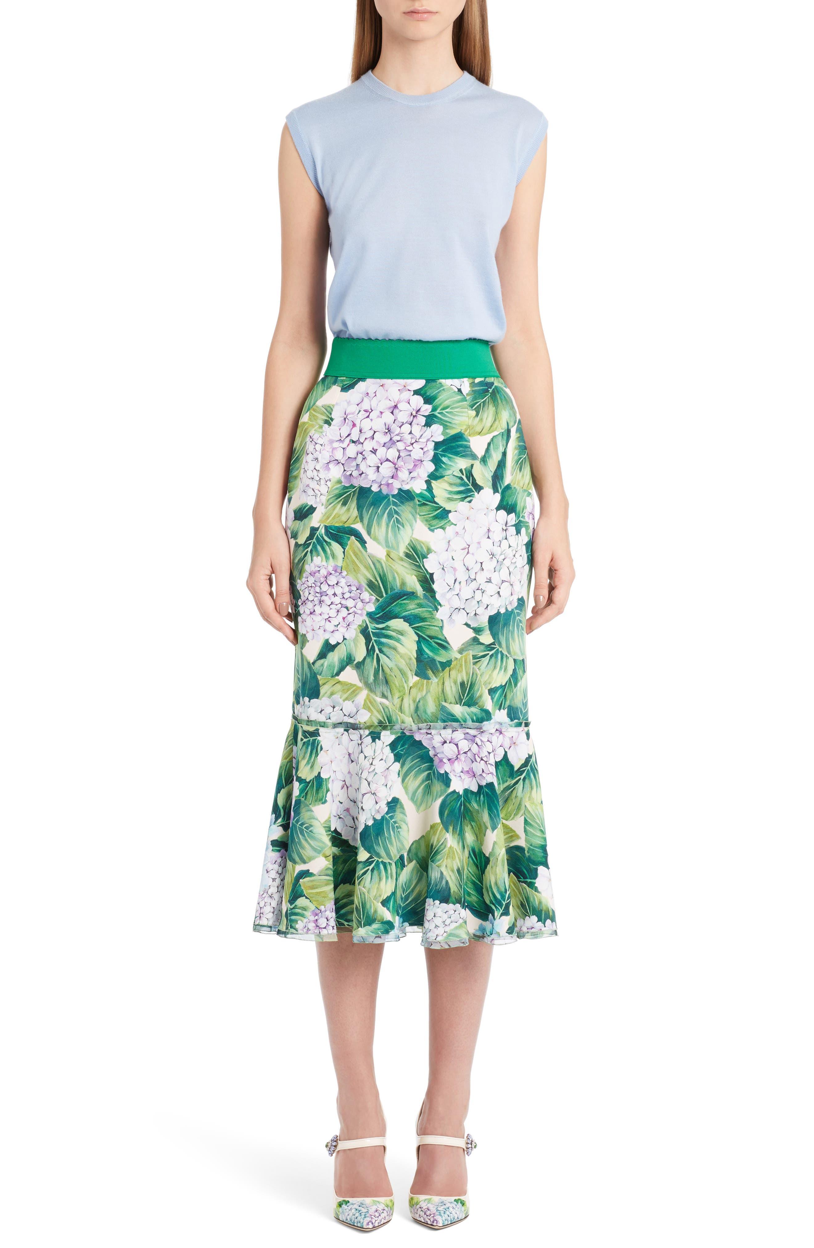 Alternate Image 6  - Dolce&Gabbana Hydrangea Print Ruffle Hem Skirt