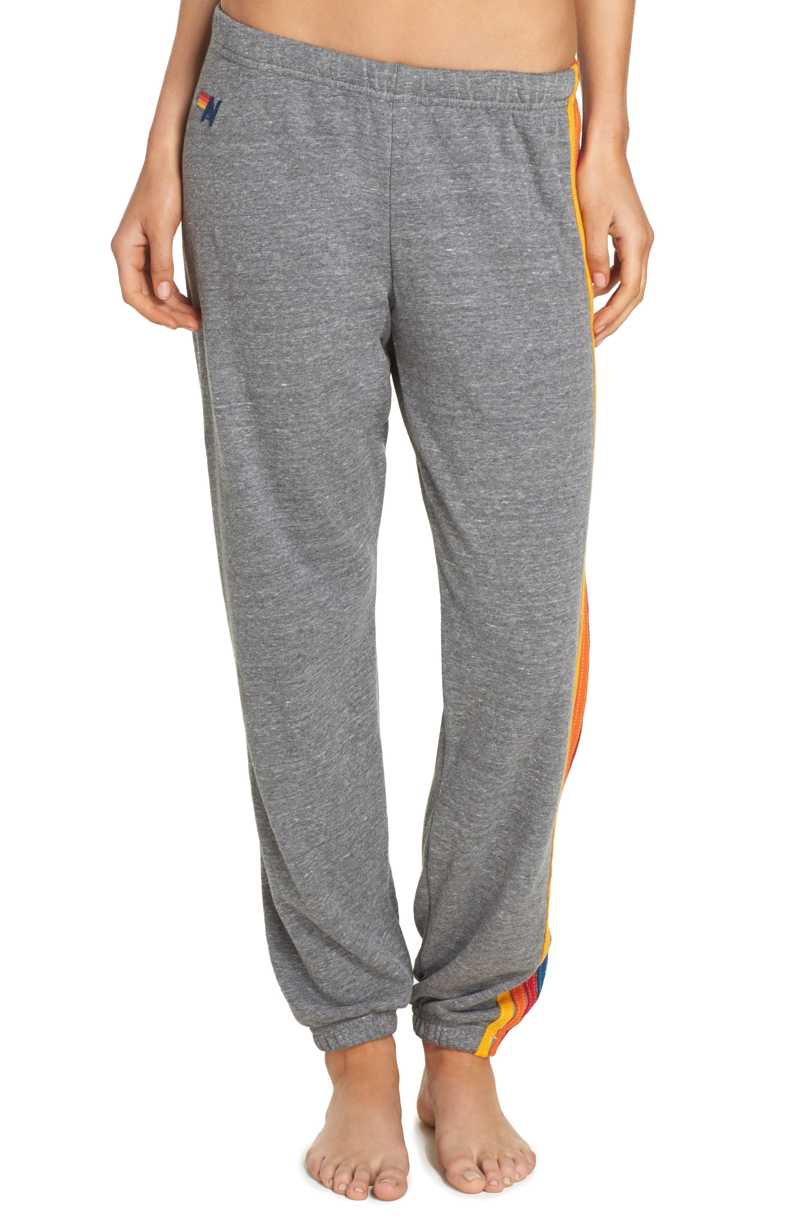 Stripe Sweatpants,                             Main thumbnail 1, color,                             Heather Grey
