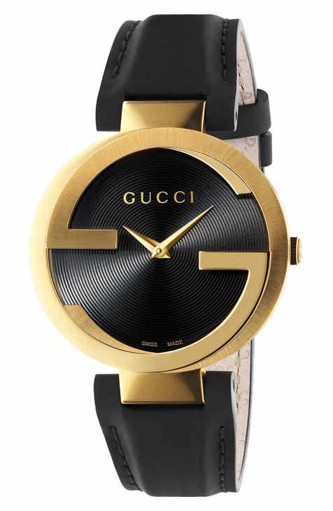 73fd05b6043a2f Gucci Interlocking Leather Strap Watch