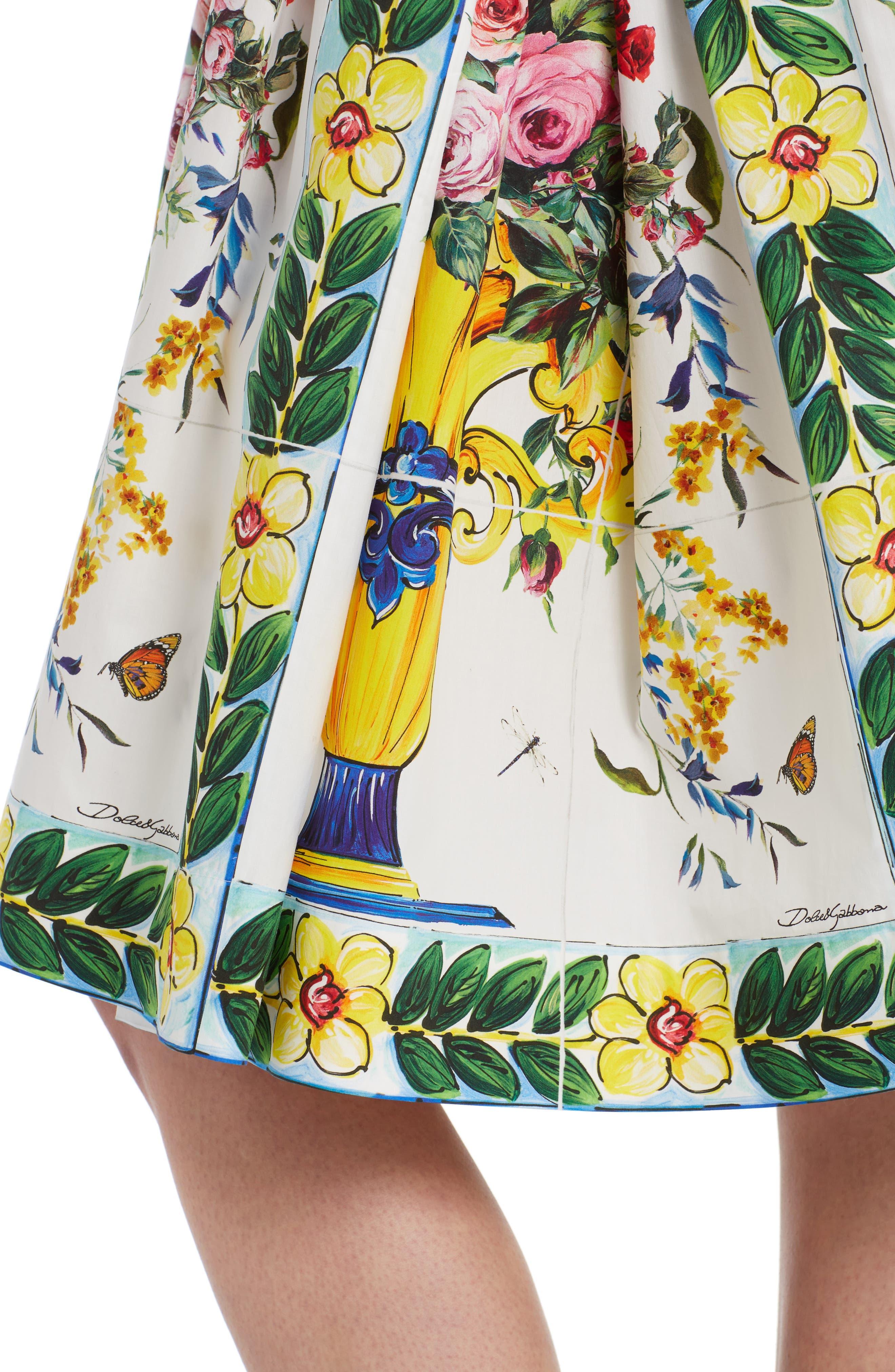 Pleated Cotton Poplin Skirt,                             Alternate thumbnail 5, color,                             Maioliche Prnt