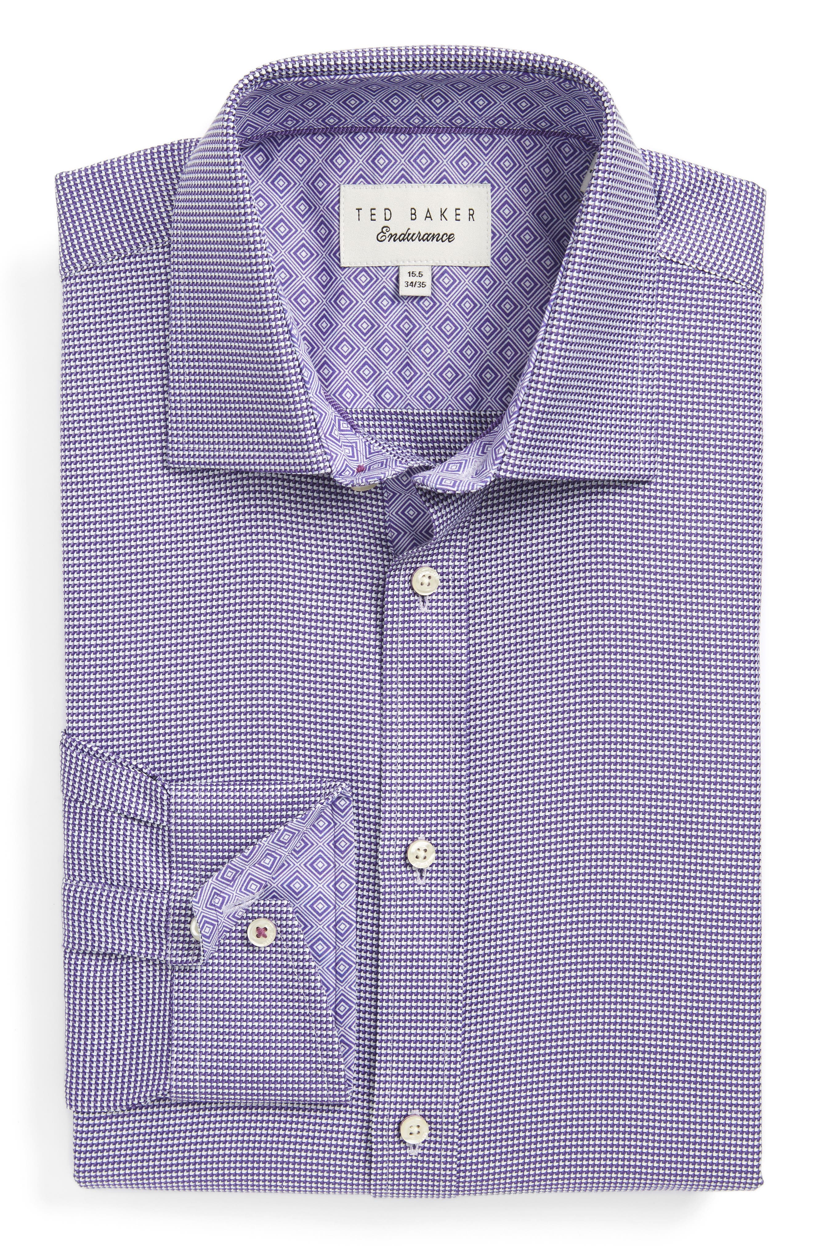 TED BAKER LONDON Chimy Trim Fit Geometric Dress Shirt