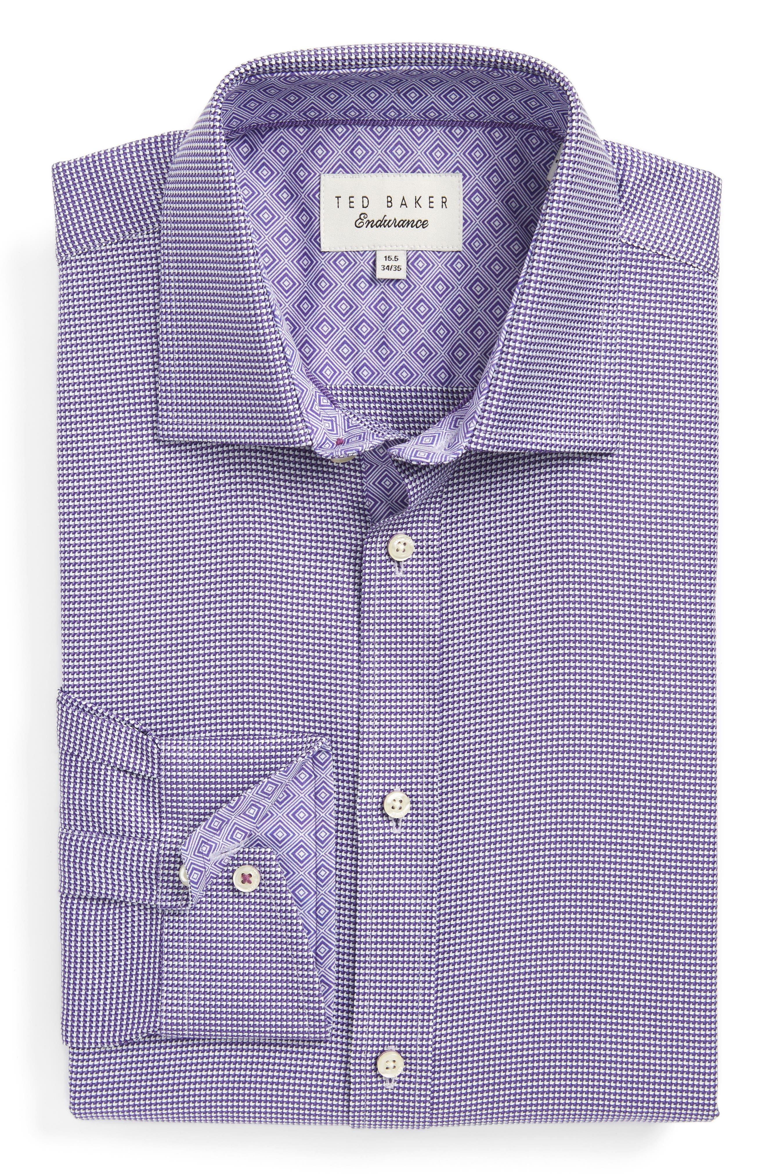Chimy Trim Fit Geometric Dress Shirt,                         Main,                         color, Purple