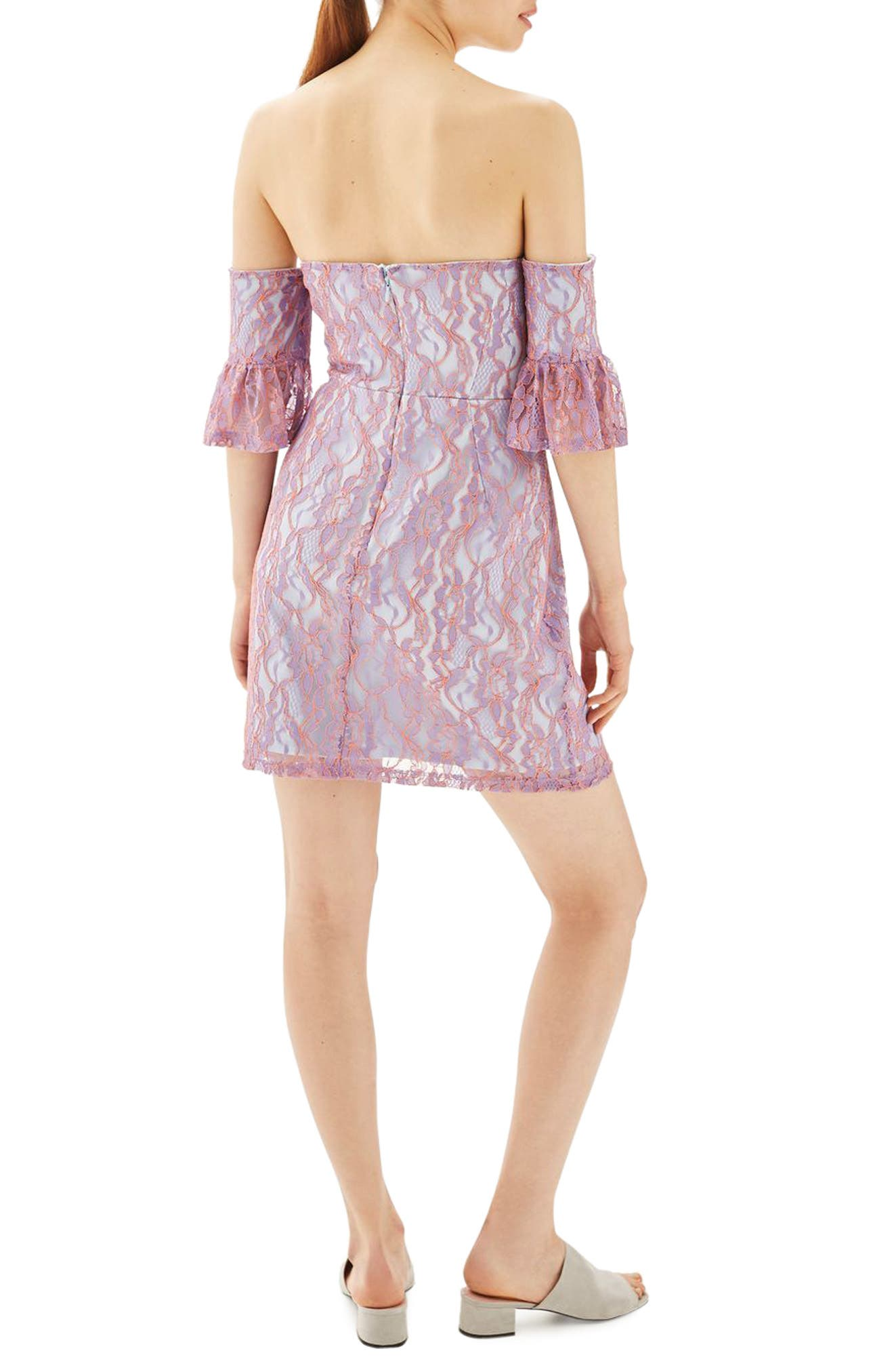 Alternate Image 2  - Topshop Bardot Flute Sleeve Lace Dress