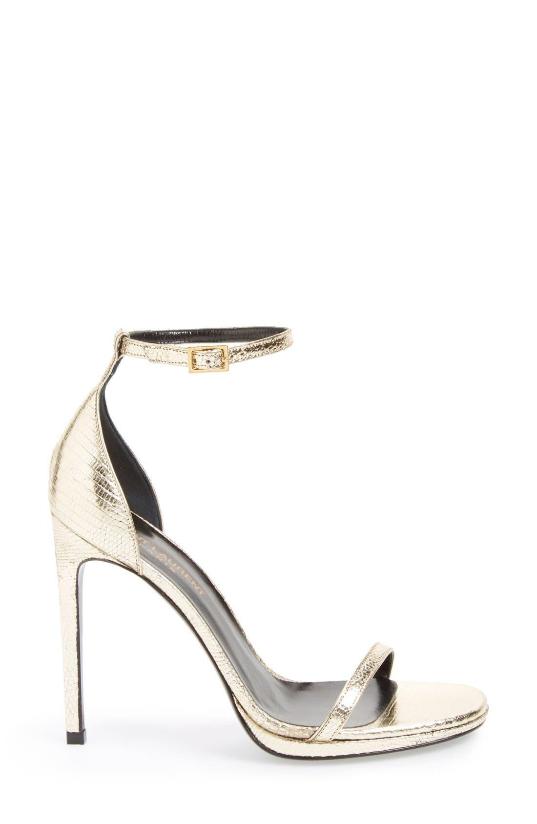 Alternate Image 4  - Saint Laurent 'Jane' Metallic Lizard Embossed Ankle Strap Sandal (Women)