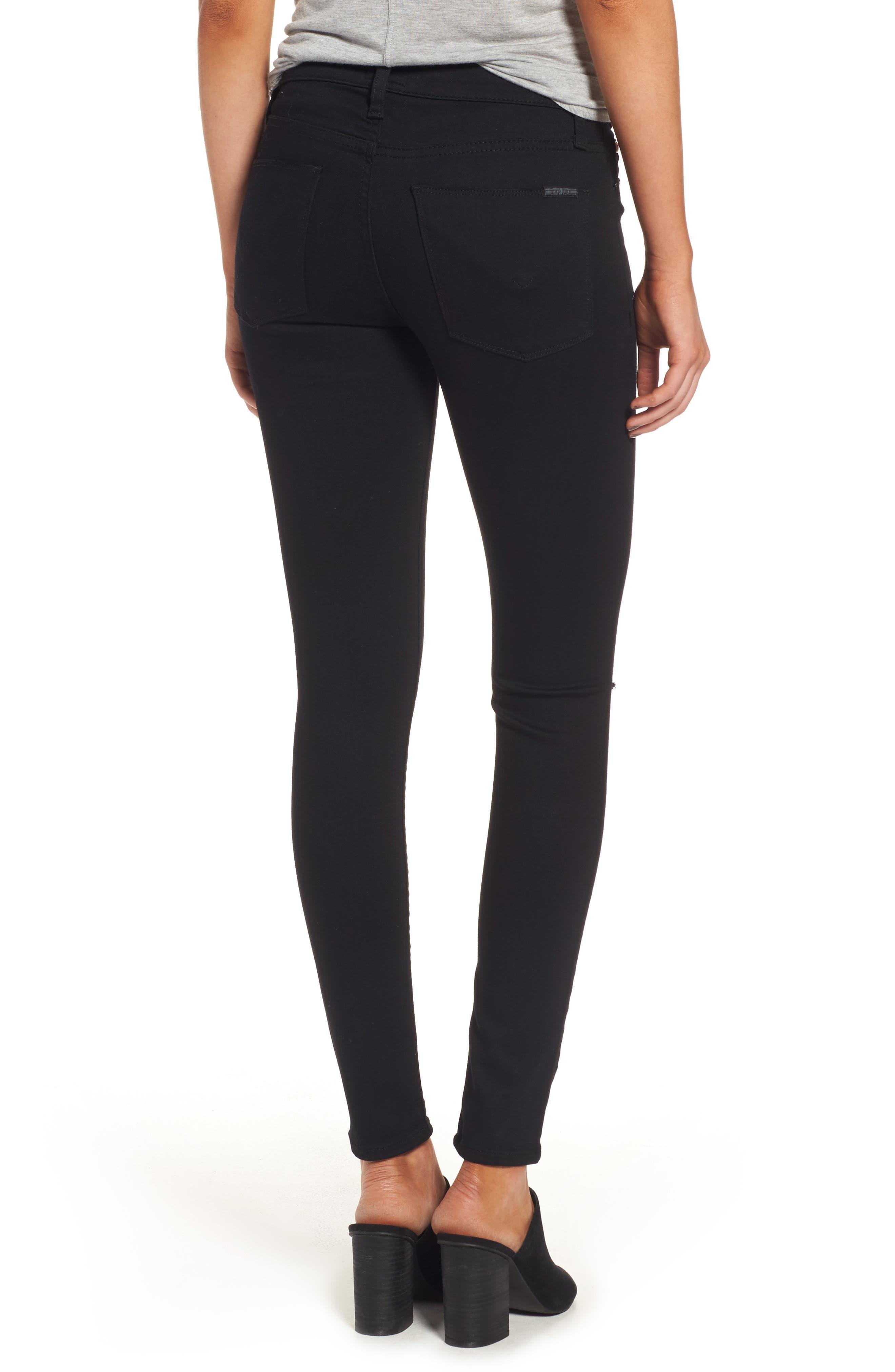 Alternate Image 2  - Hudson Jeans 'Elysian - Nico' Super Skinny Jeans (Destructed Black) (Nordstrom Exclusive)