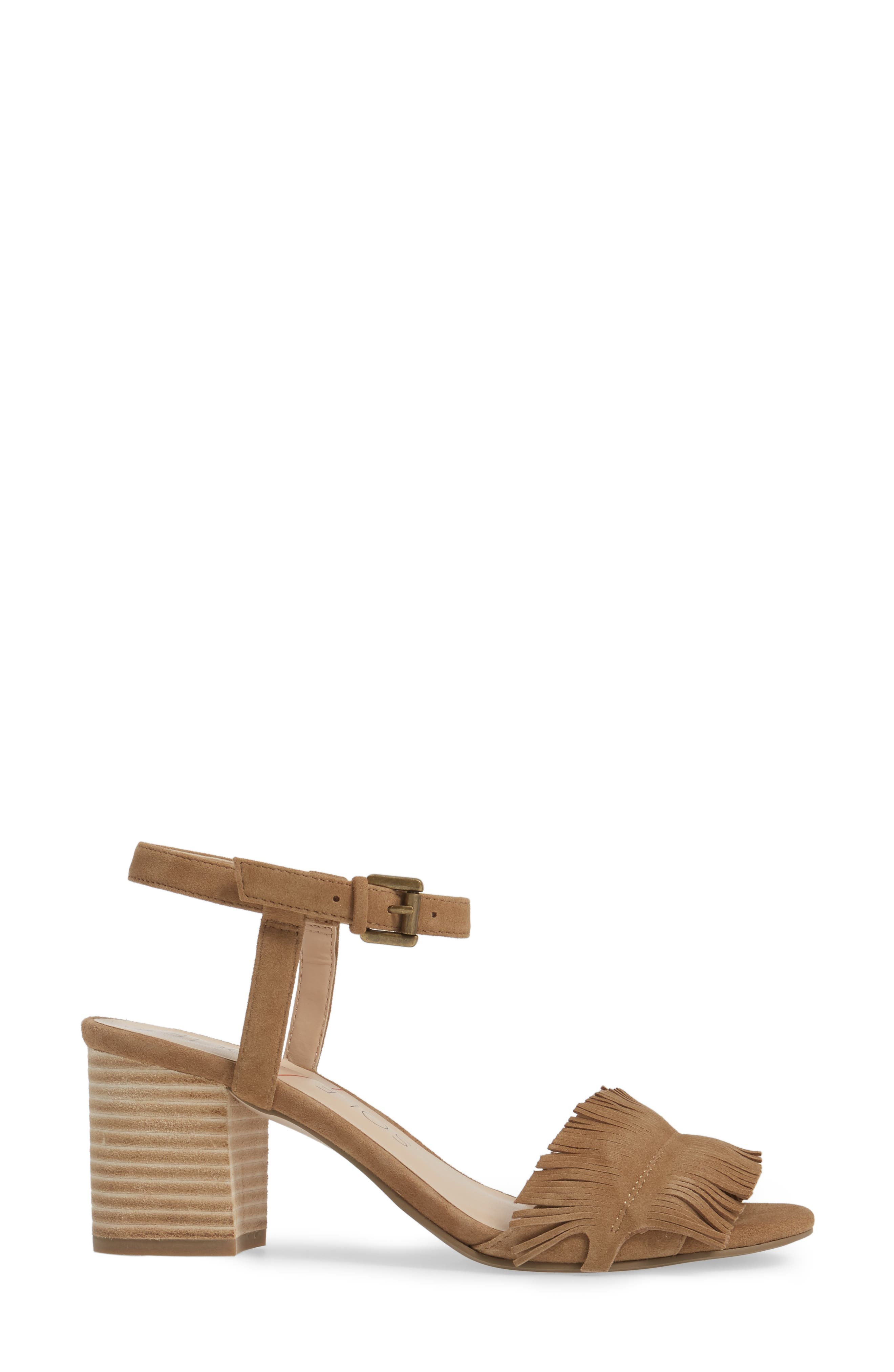 Sepia Fringe Sandal,                             Alternate thumbnail 3, color,                             Coffee Suede