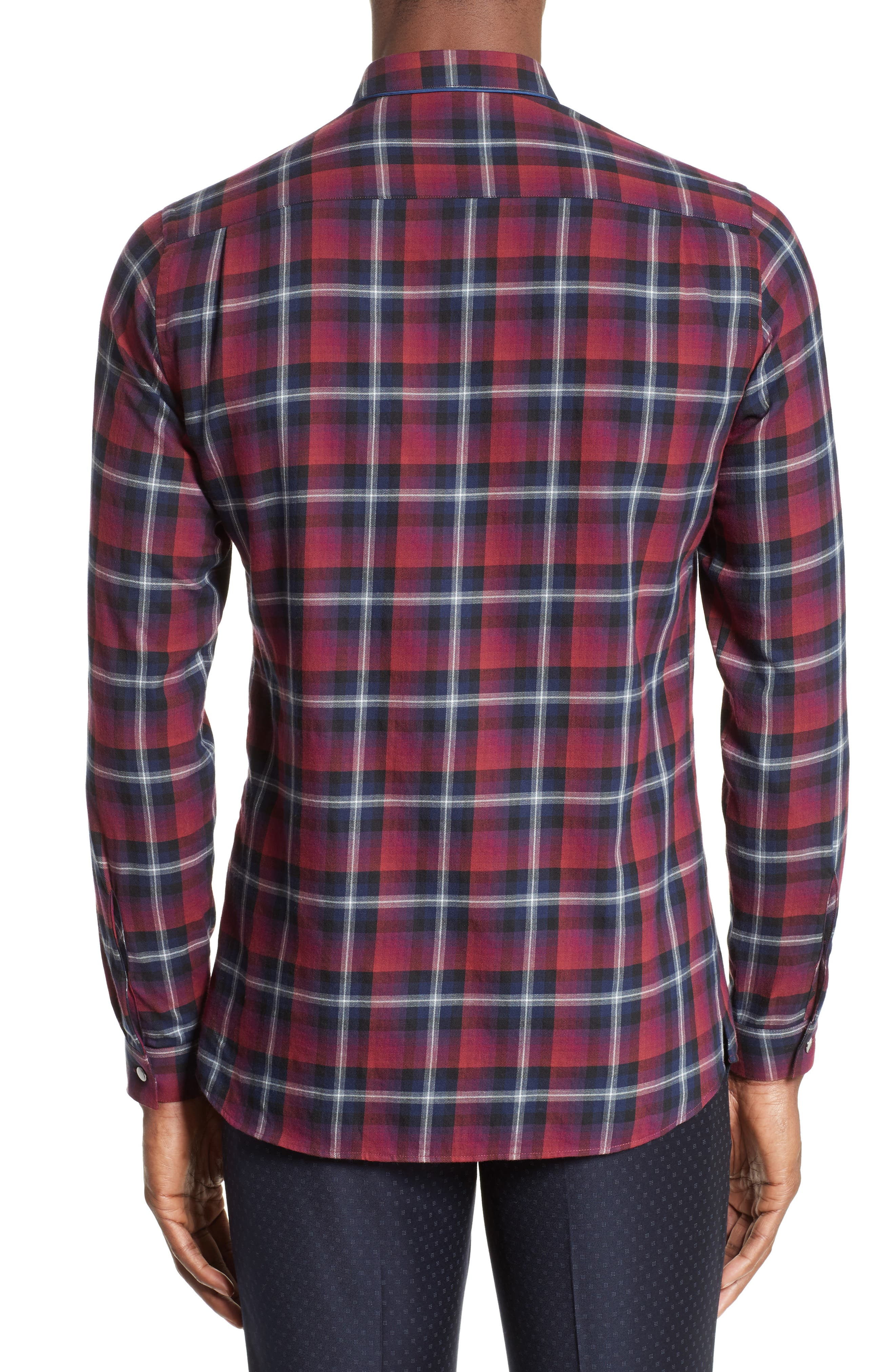 Contrast Piping Plaid Sport Shirt,                             Alternate thumbnail 2, color,                             Red
