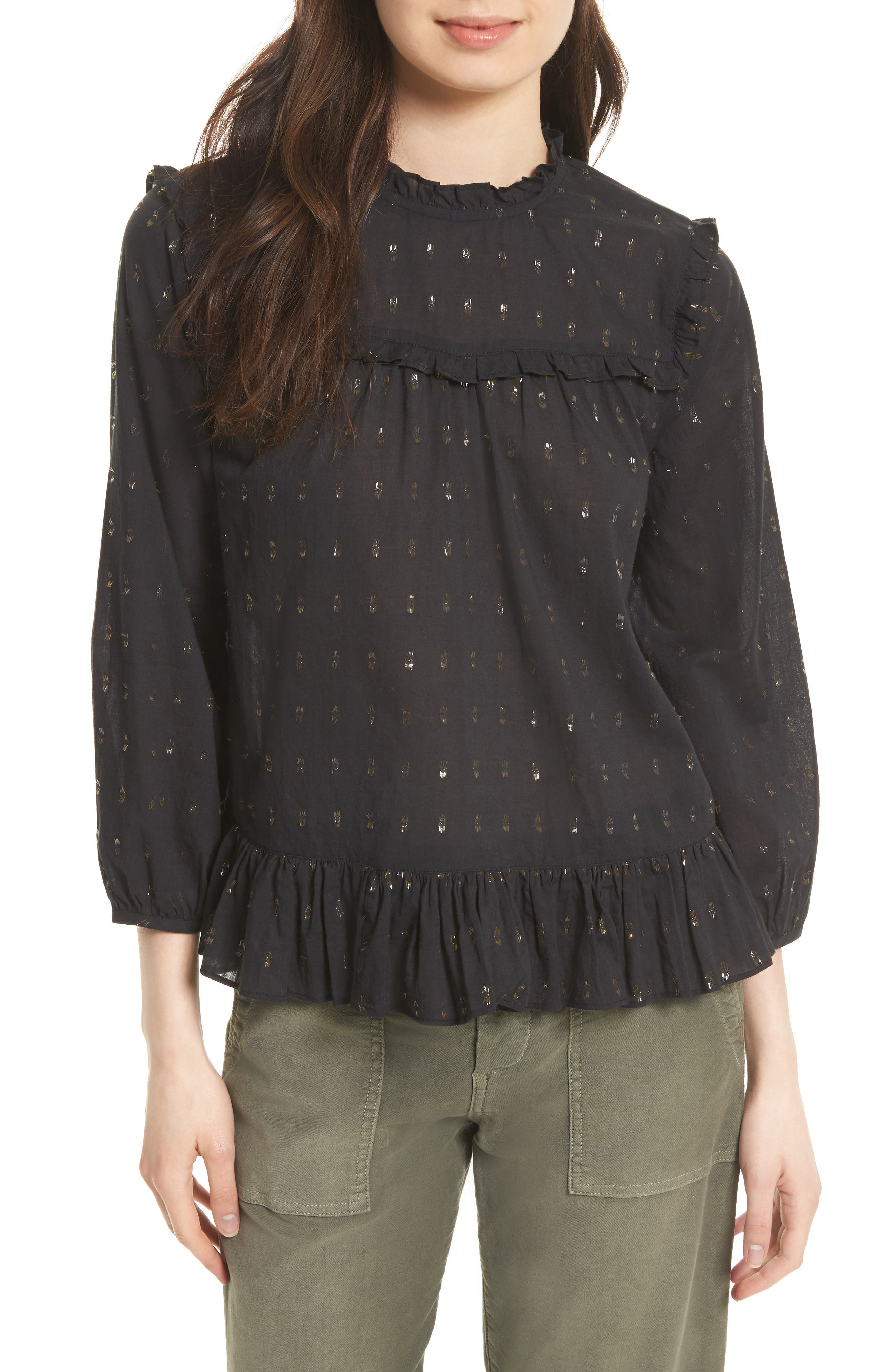 JOIE Gianella Metallic Clip Blouse