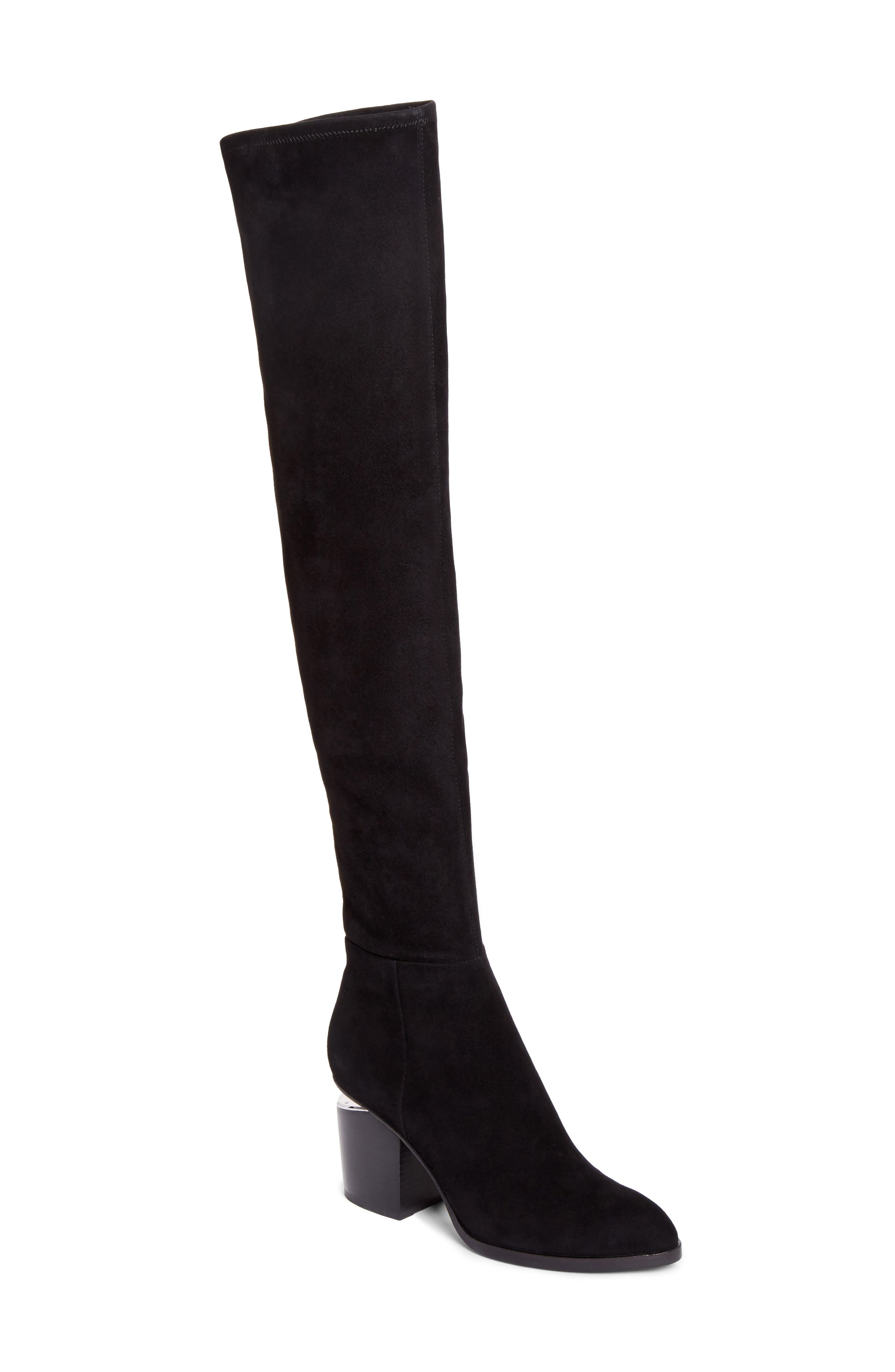 Gabi Over the Knee Boot,                             Main thumbnail 1, color,                             Black Suede