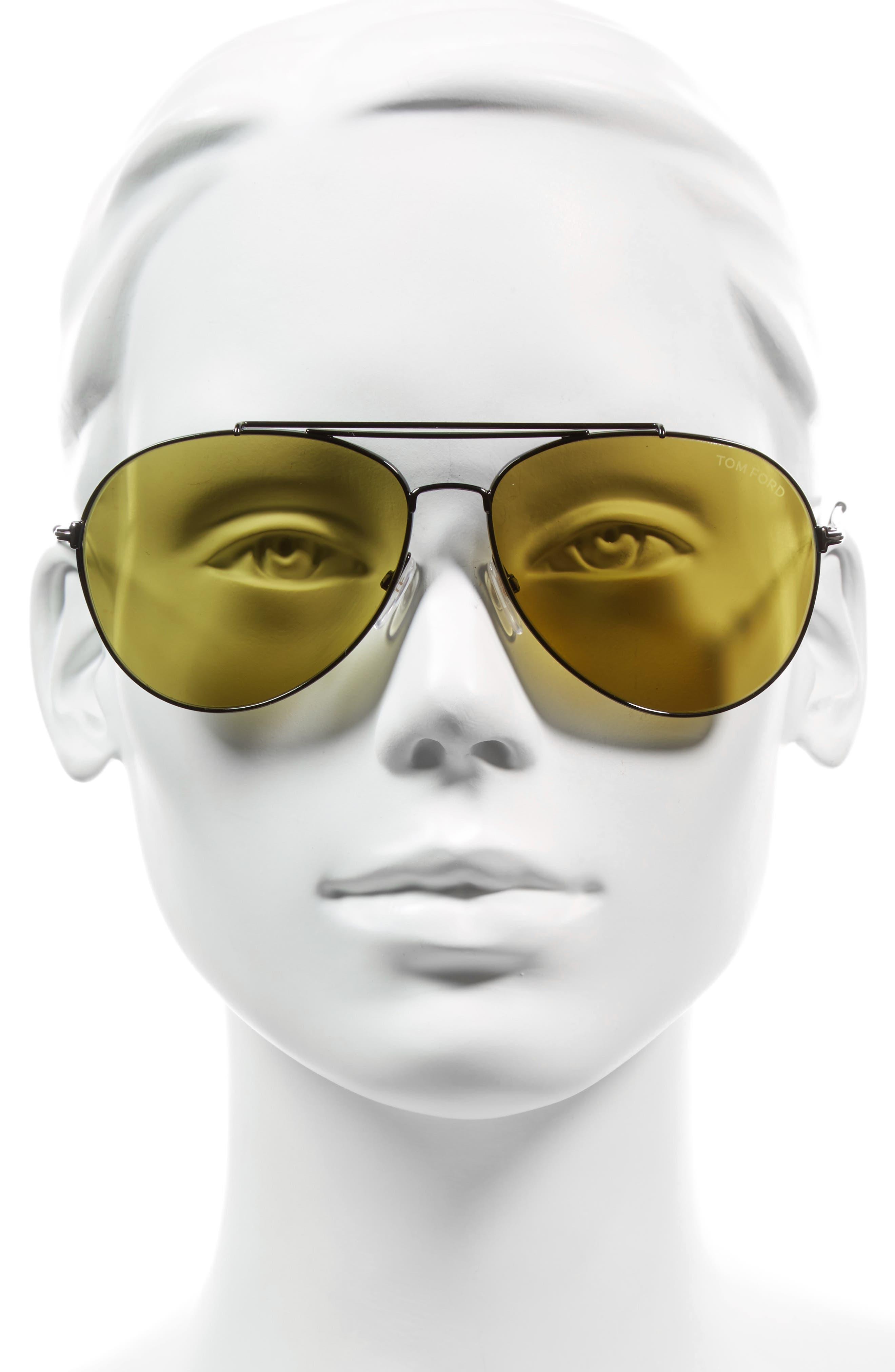 Indiana 58mm Barberini Lens Aviator Sunglasses,                             Alternate thumbnail 2, color,                             Green/ Green Havana/ Black