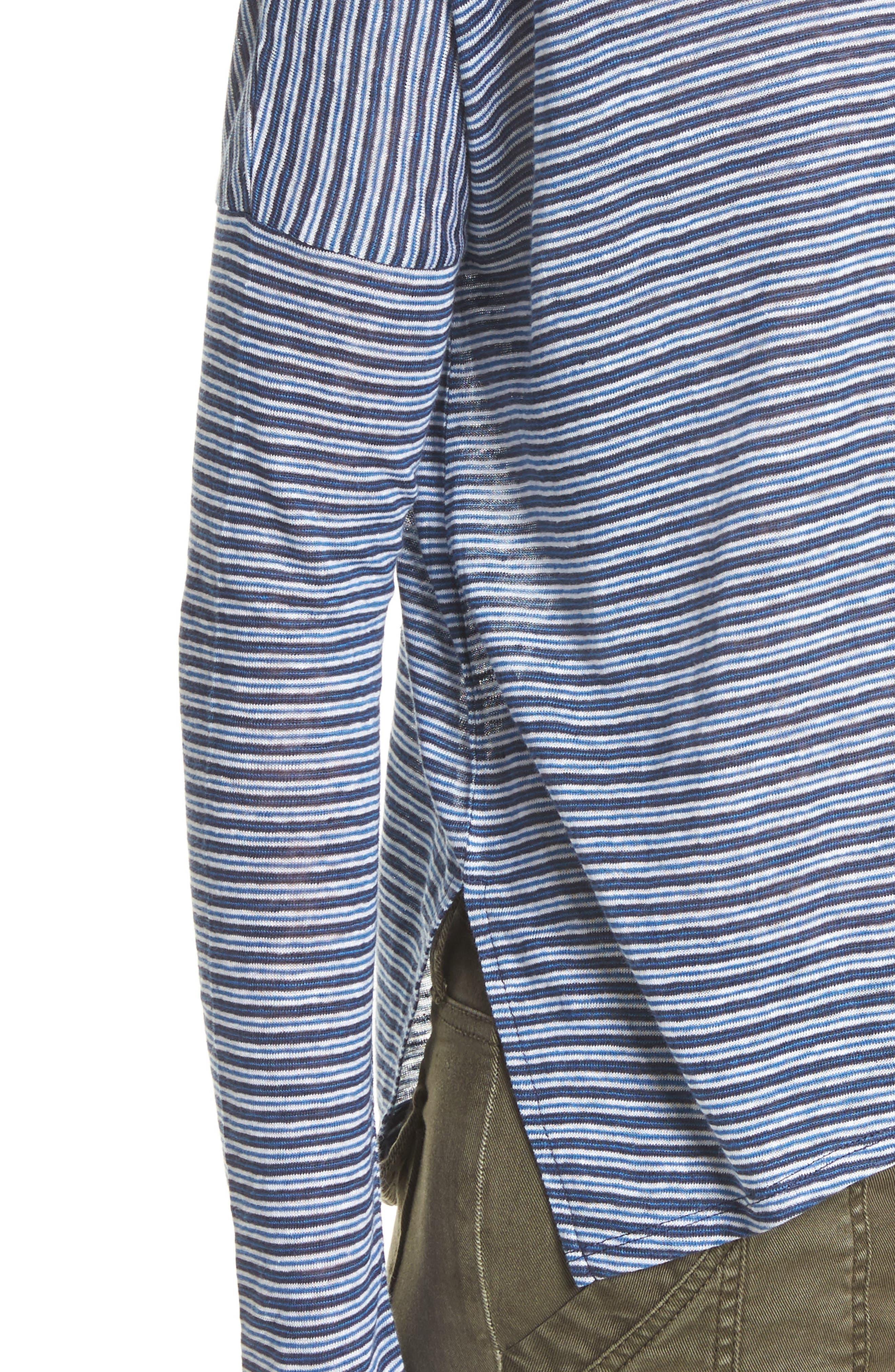 Faya Stripe Linen Sweater,                             Alternate thumbnail 4, color,                             Moroccan Blue