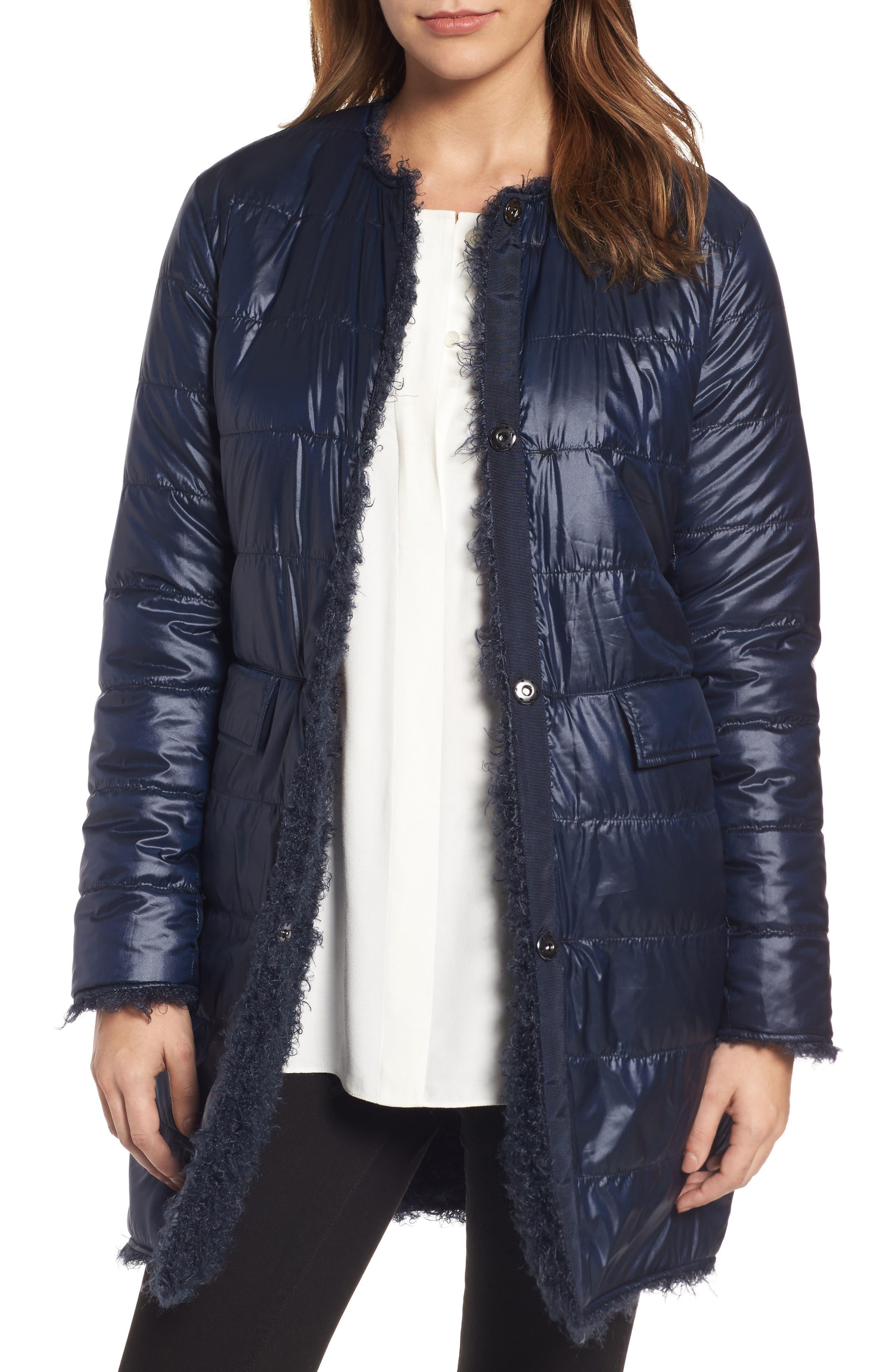 Reversible Faux Fur Coat,                             Alternate thumbnail 4, color,                             Navy