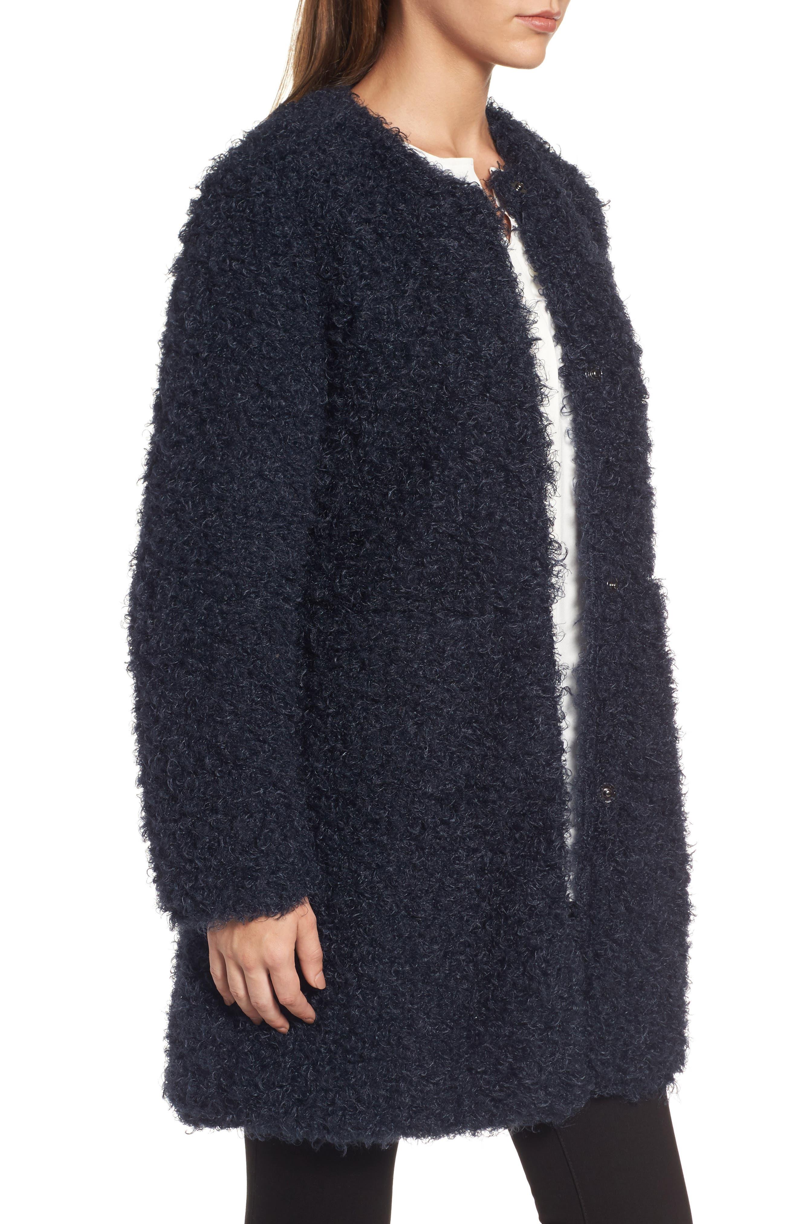 Reversible Faux Fur Coat,                             Alternate thumbnail 3, color,                             Navy