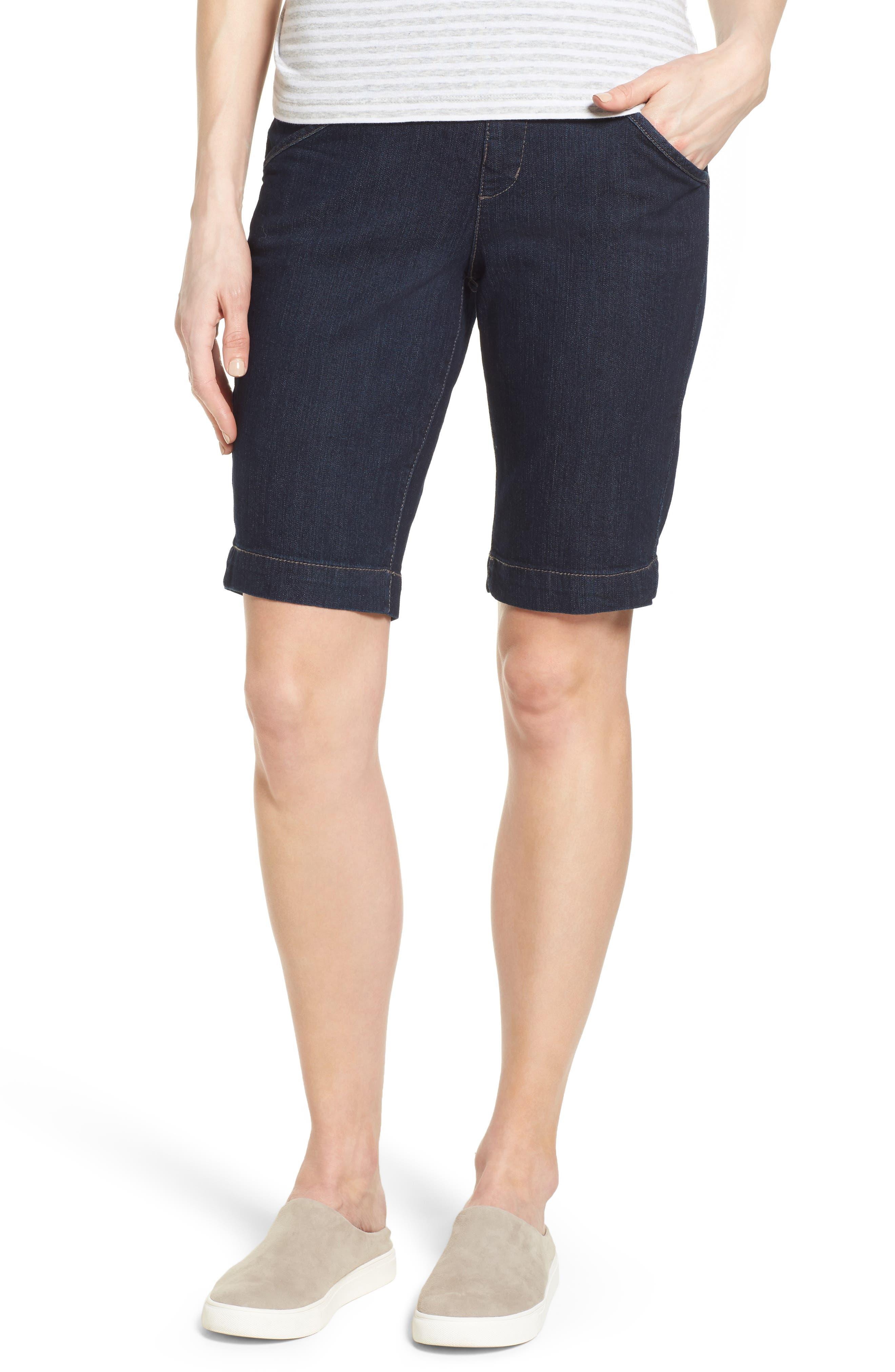 Ainsley Slim Denim Bermuda Shorts,                         Main,                         color, Dark Indigo