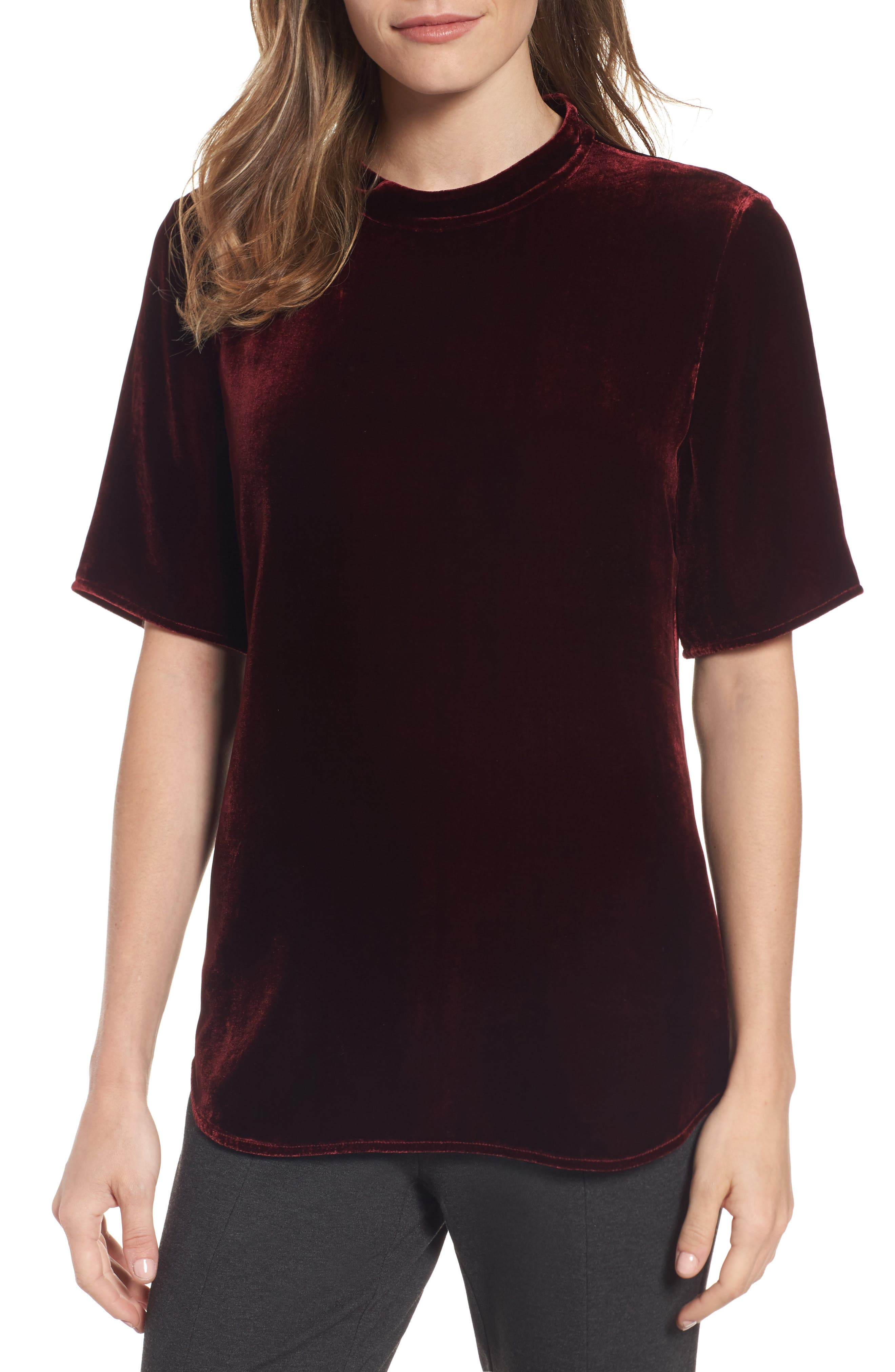 Eileen Fisher High Neck Velvet Top (Regular & Petite)