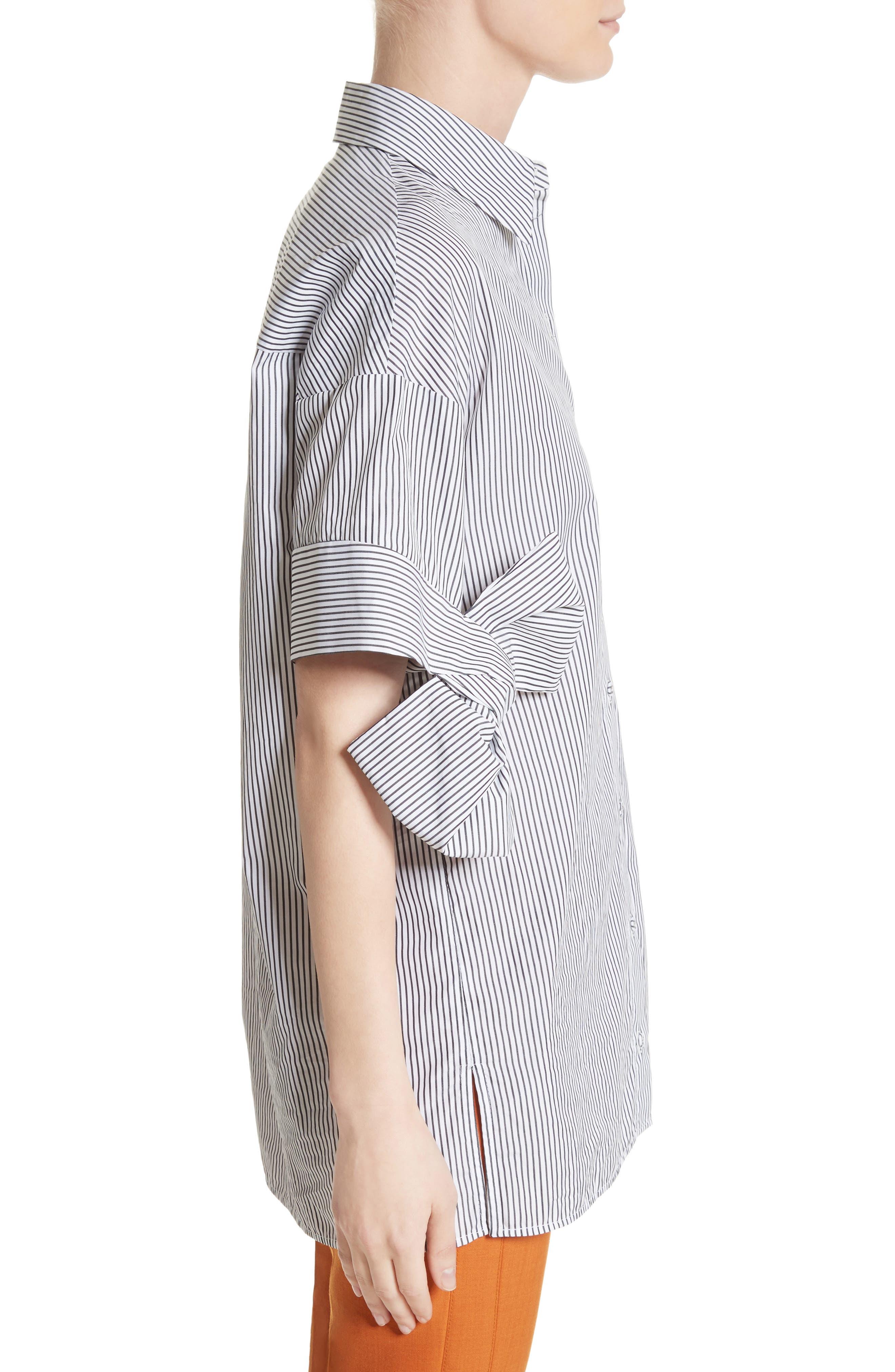 Bow Sleeve Shirt,                             Alternate thumbnail 3, color,                             Black/ White