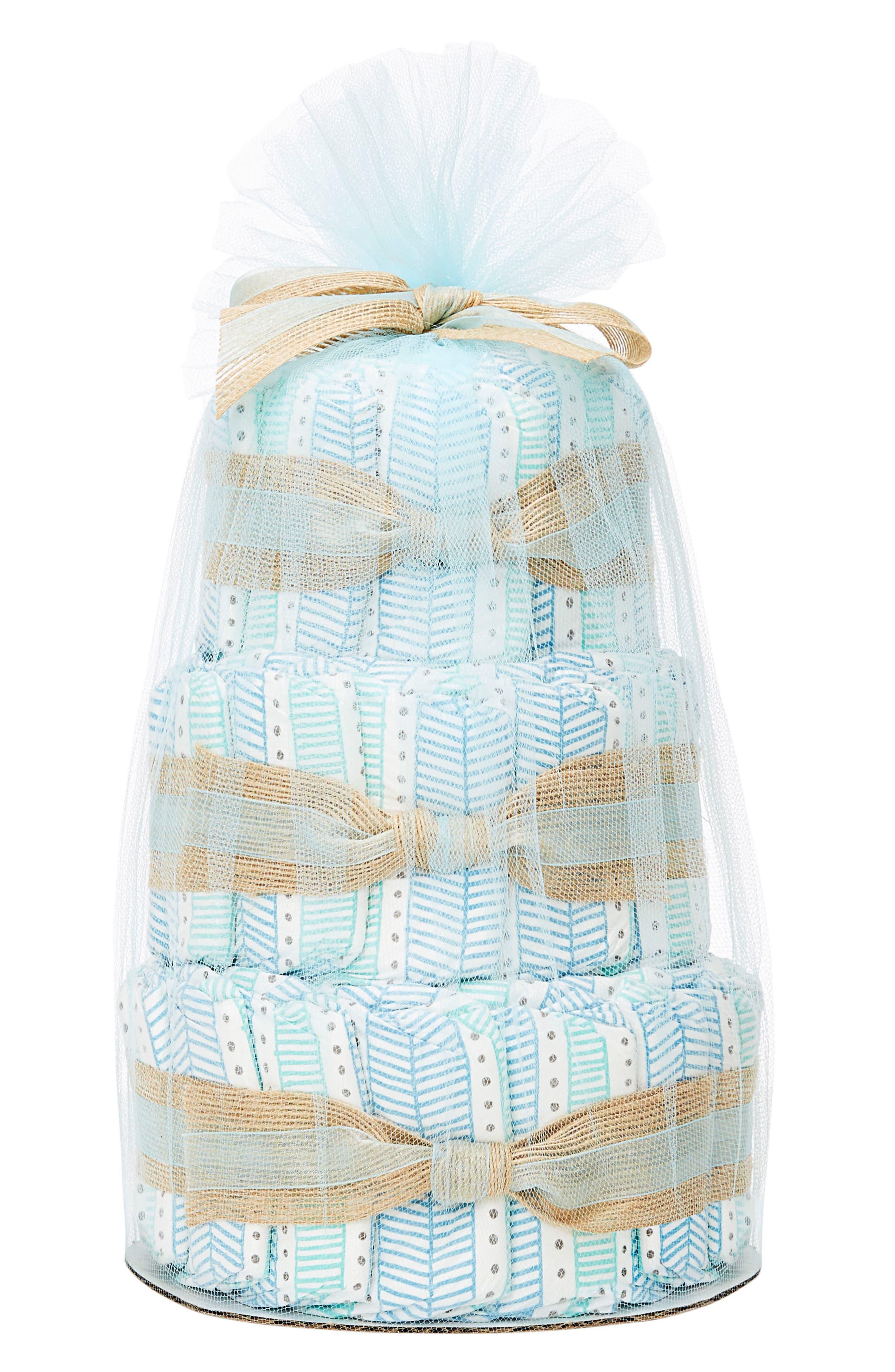 Mini Diaper Cake & Travel-Size Essentials Set,                             Main thumbnail 1, color,                             Teal Tribal