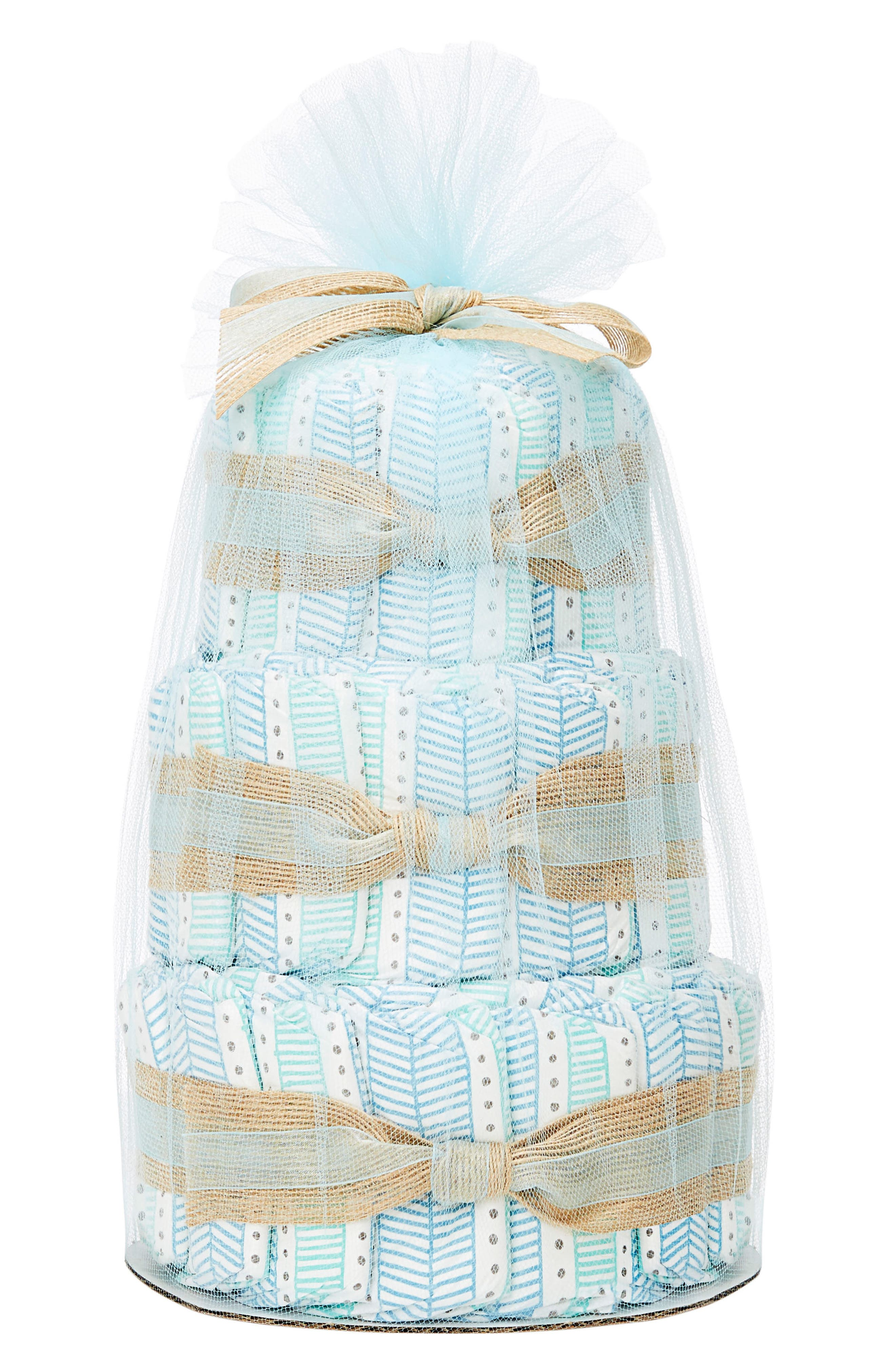 Mini Diaper Cake & Travel-Size Essentials Set,                         Main,                         color, Teal Tribal