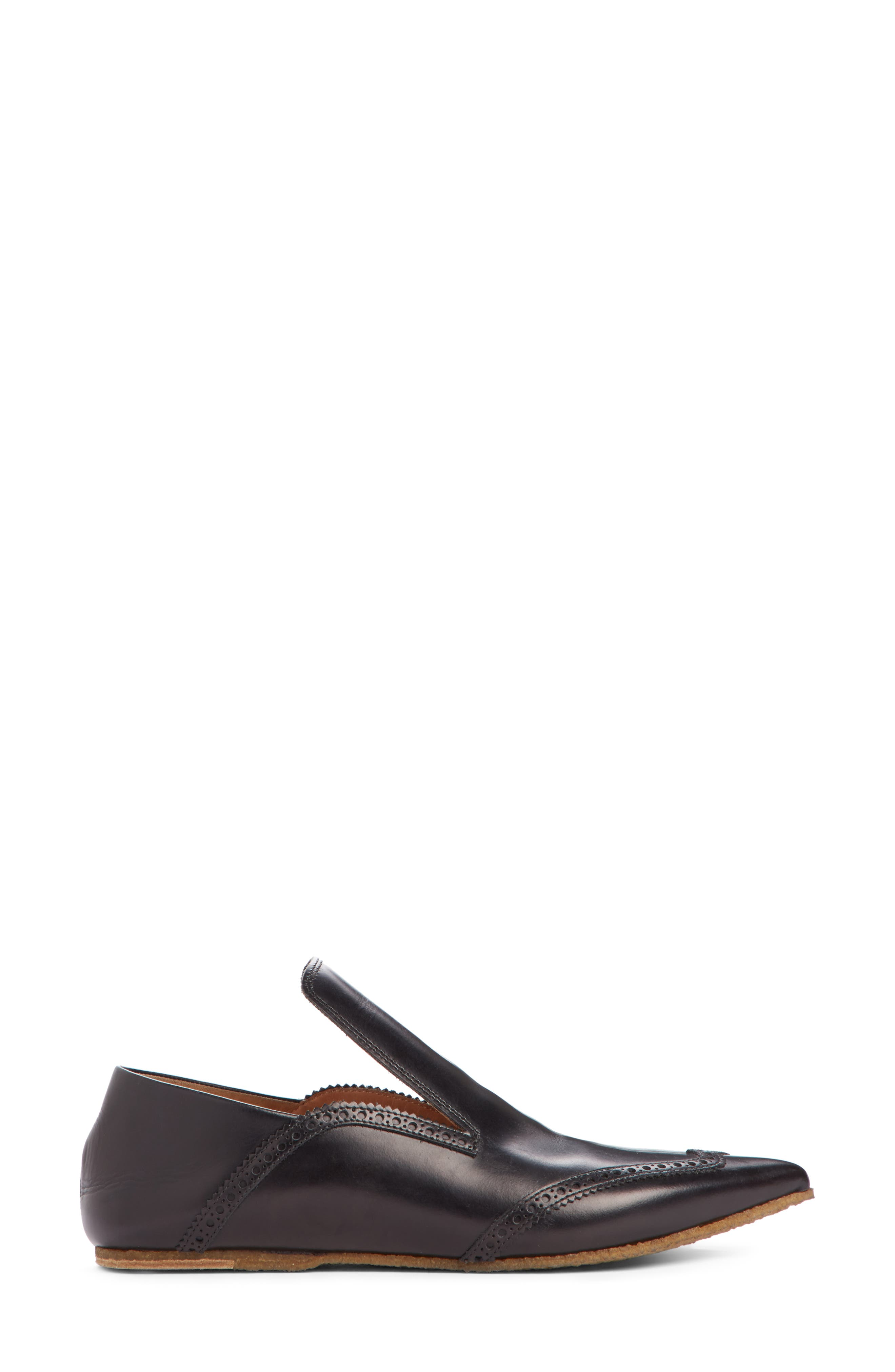 Pointy Toe Loafer,                             Alternate thumbnail 4, color,                             Black