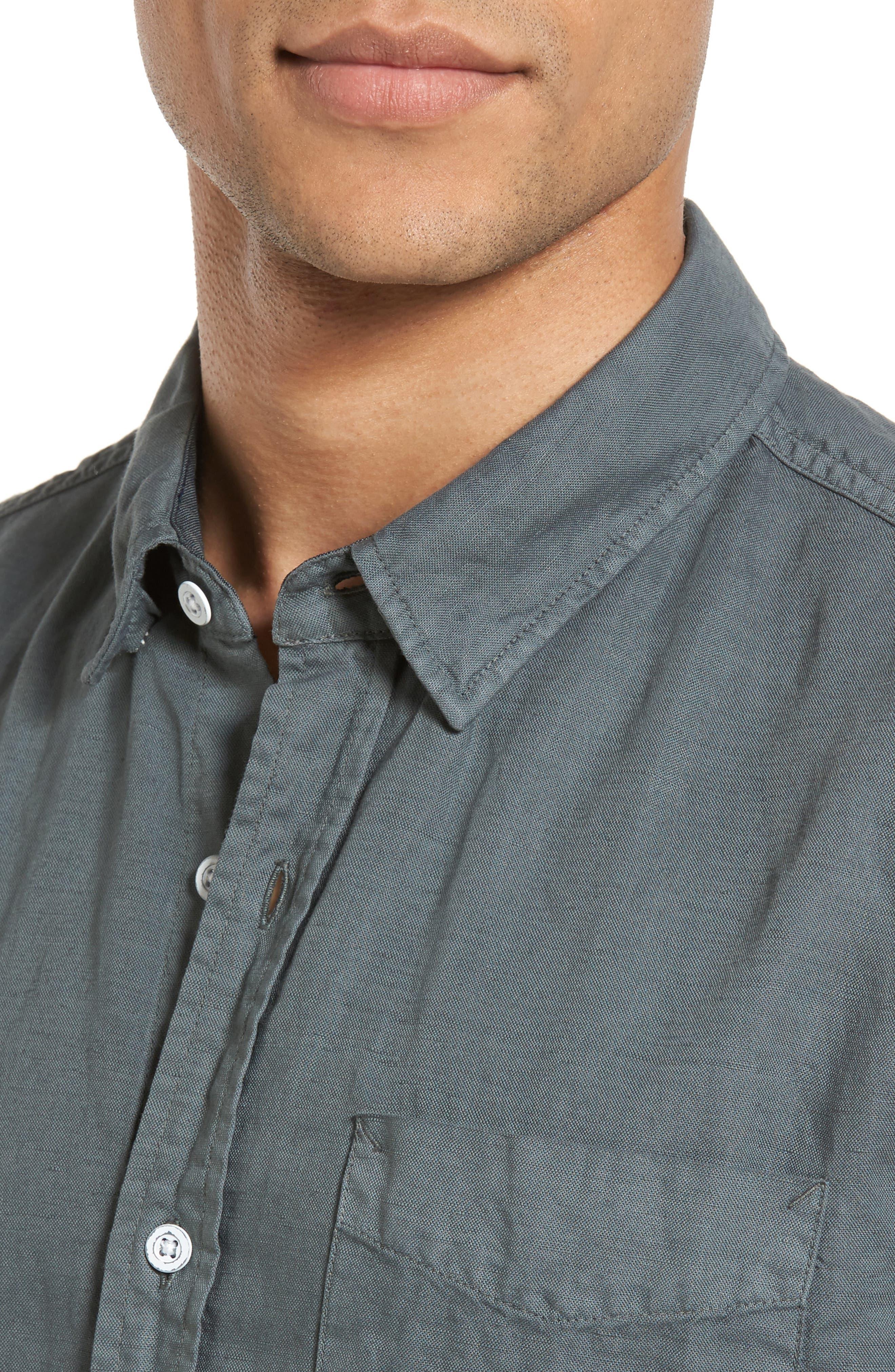 Colton Slim Fit Cotton & Linen Sport Shirt,                             Alternate thumbnail 4, color,                             Pigment Castlerock