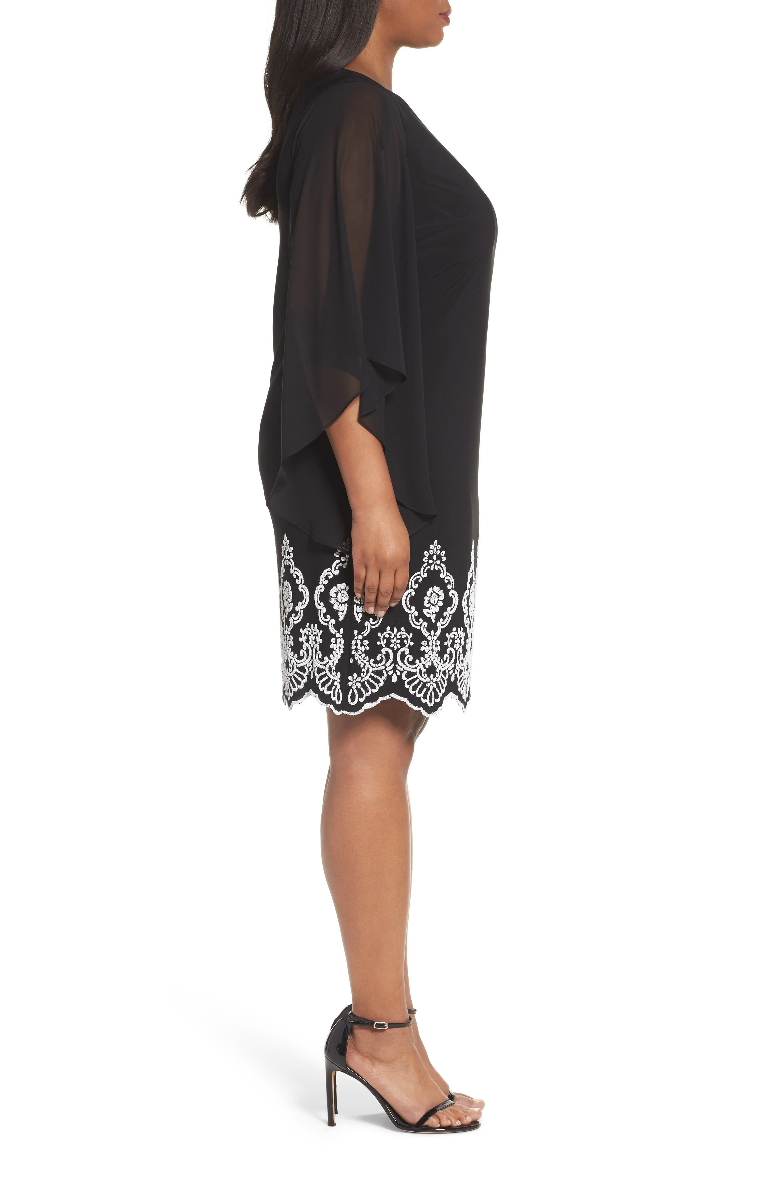 Beaded Hem Short Shift Dress,                             Alternate thumbnail 3, color,                             Black Ivory