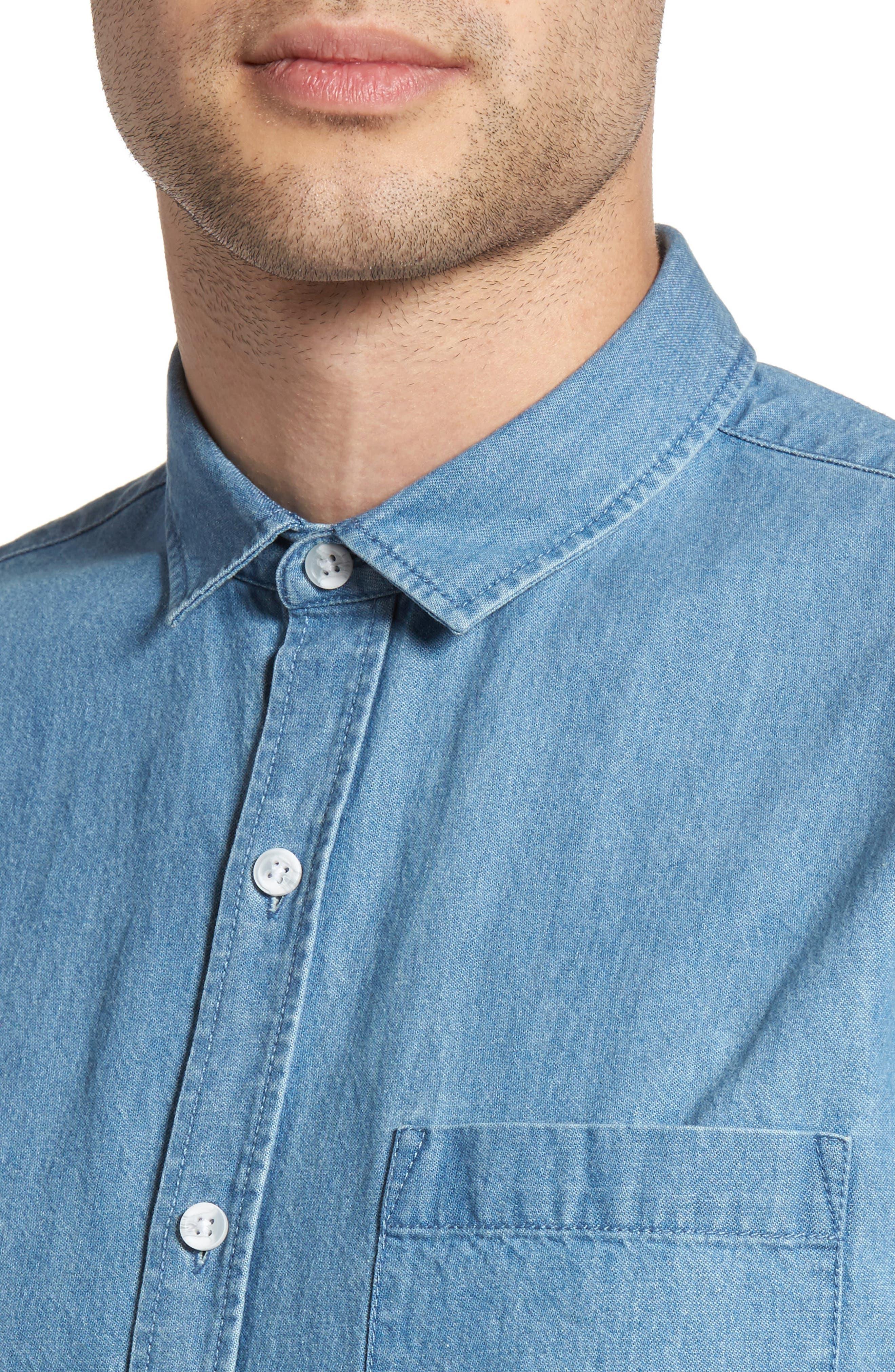 Washed Denim Shirt,                             Alternate thumbnail 4, color,                             Blue