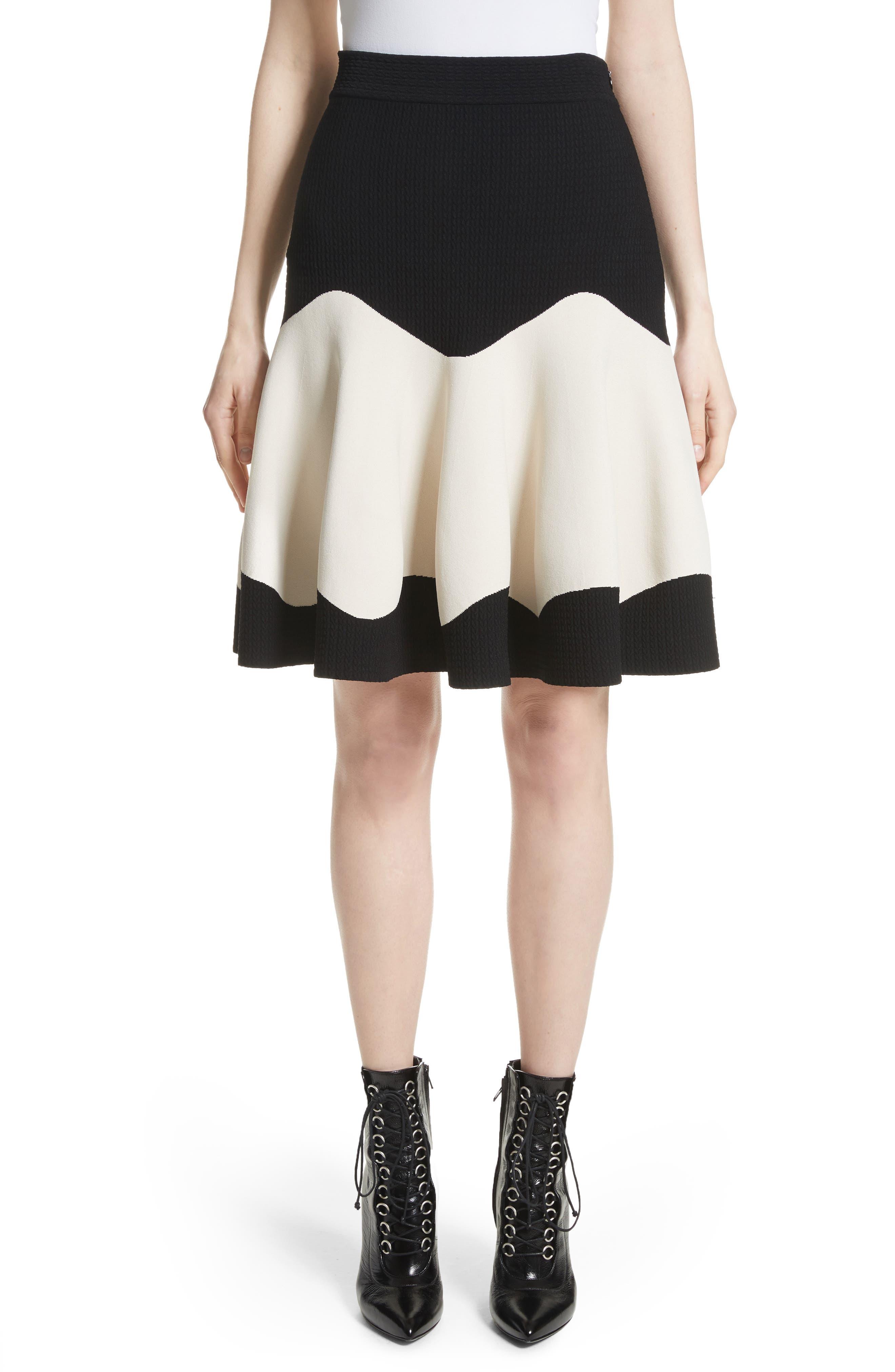 Bicolor Contrast Jacquard Flounce Skirt,                         Main,                         color, Black/ Ivory