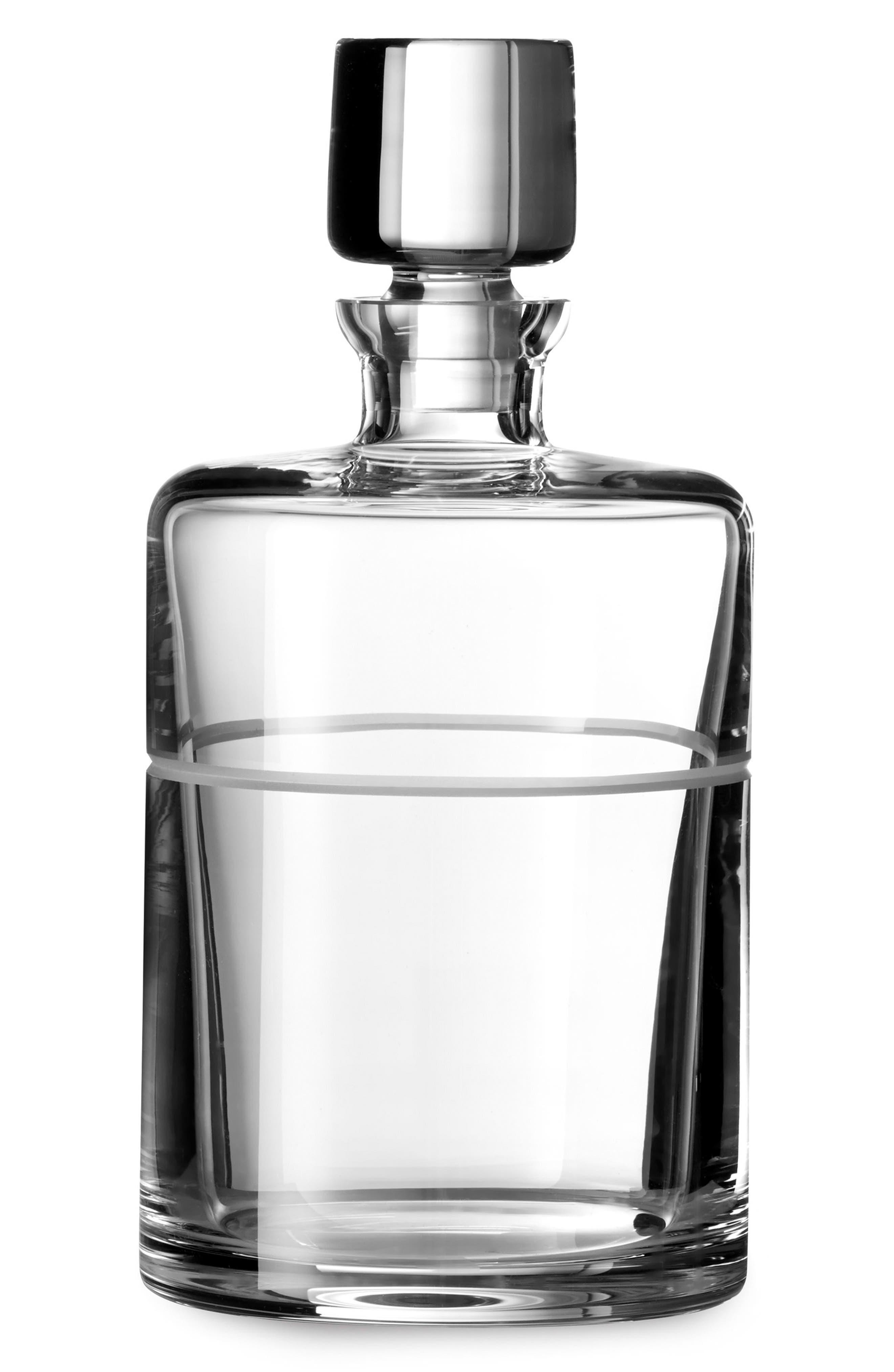 x Wedgwood Bande Crystal Spirits Decanter,                         Main,                         color, Metallic Silver