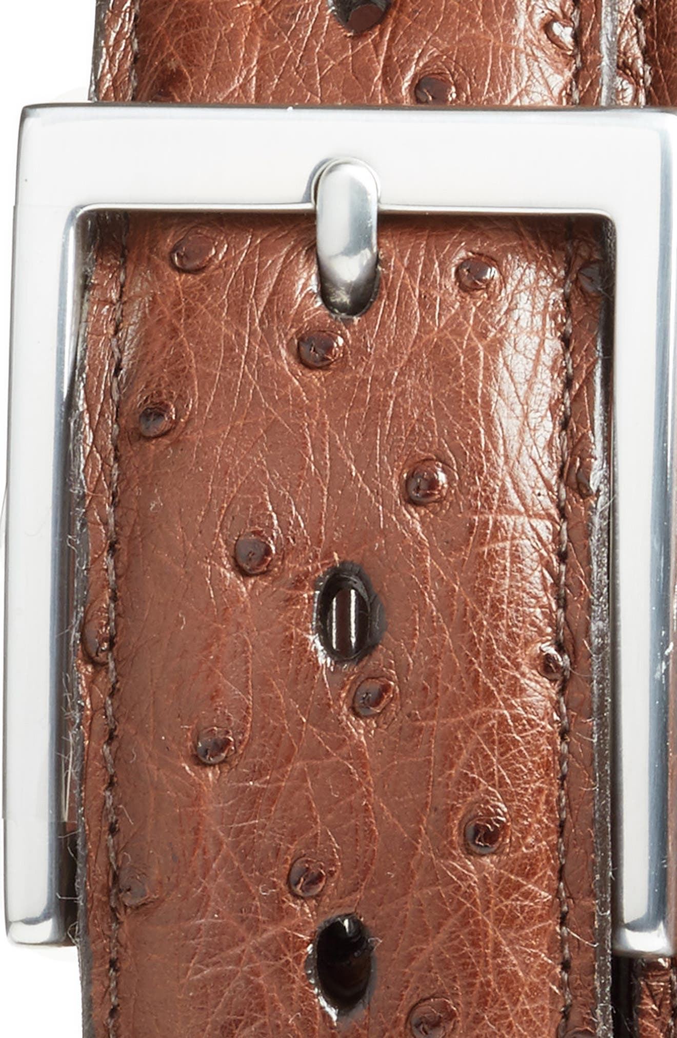 Ostrich Leather Belt,                             Alternate thumbnail 2, color,                             Cappuccino