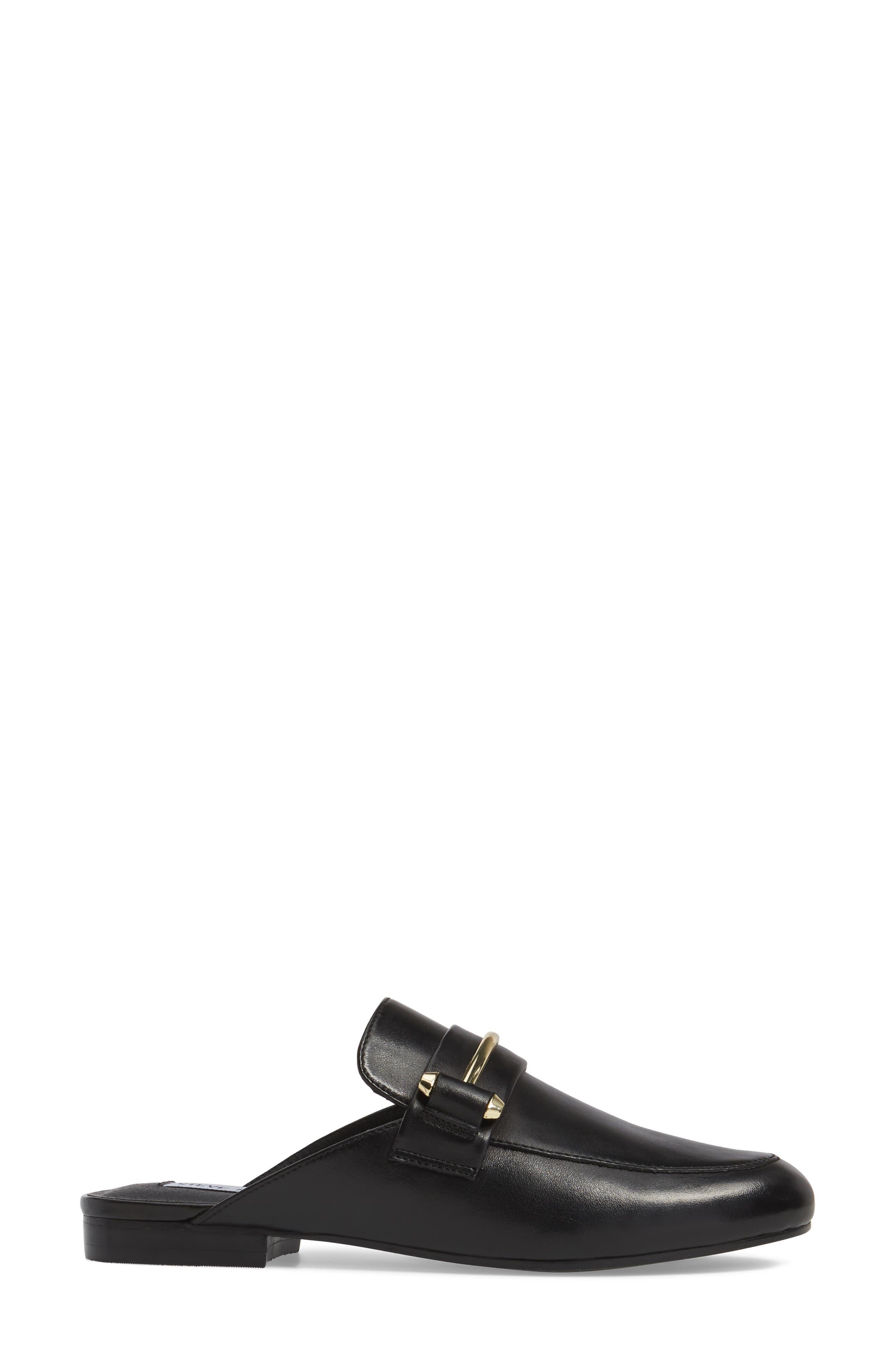 Kera Flat Loafer Mule,                             Alternate thumbnail 3, color,                             Black Leather