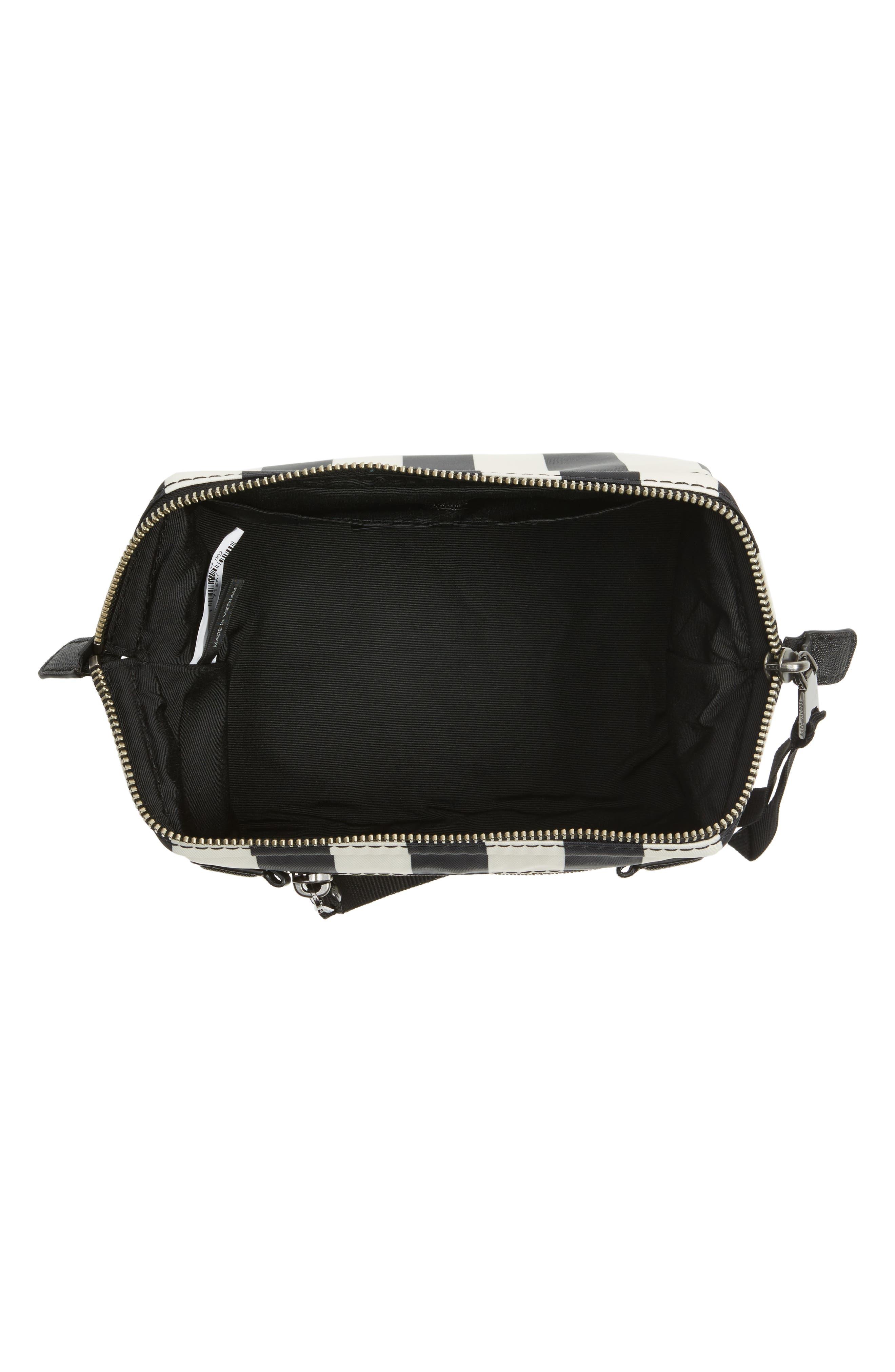 Stripes Trooper Cosmetics Bag,                             Alternate thumbnail 3, color,                             Black Multi