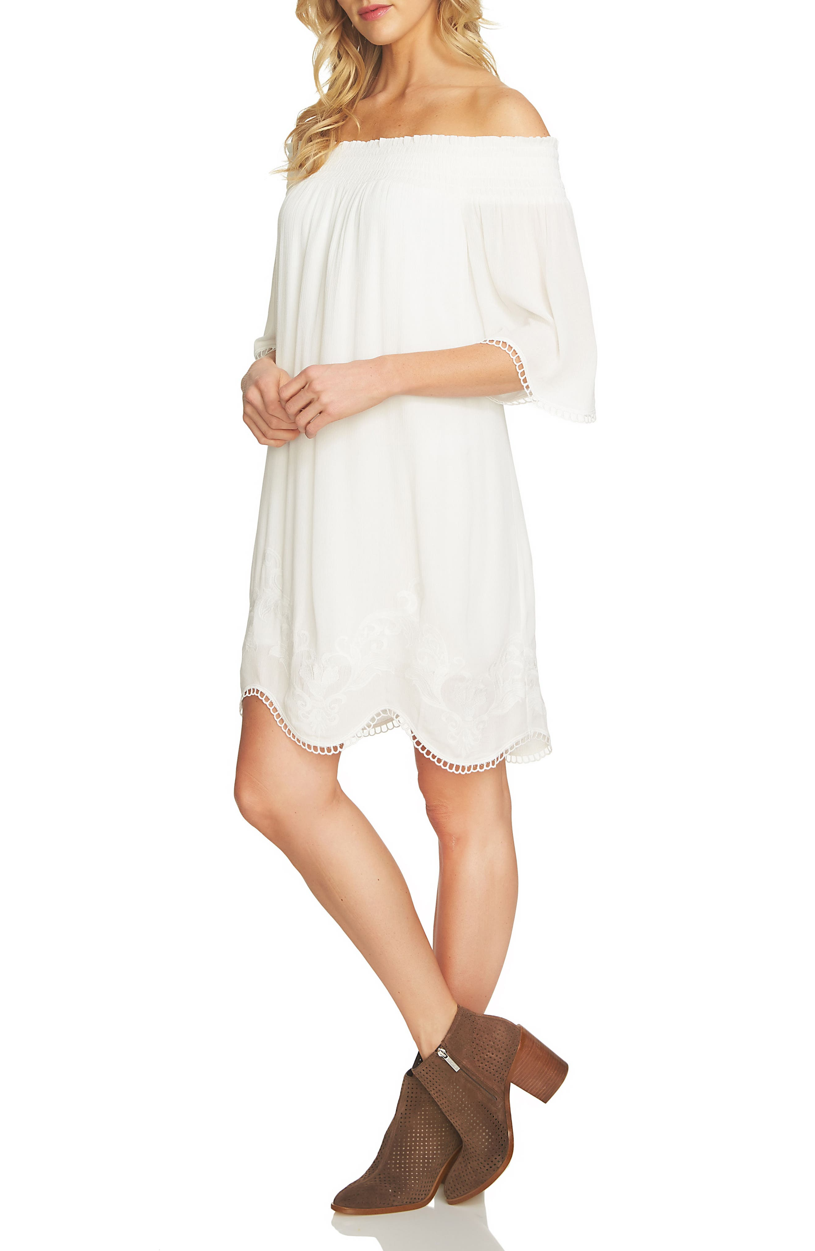1.STATE Embroidered Off the Shoulder Shift Dress