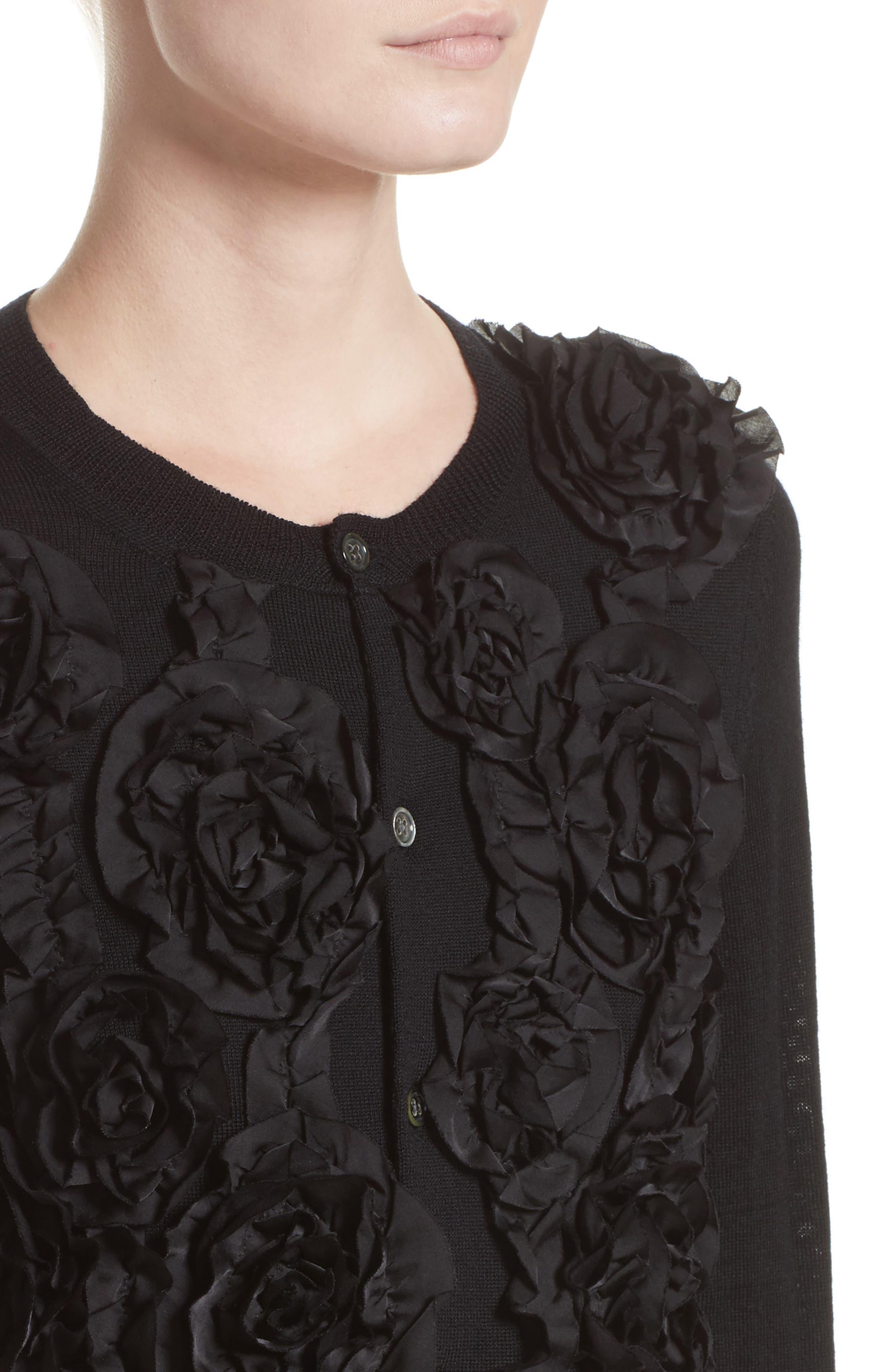 Floral Appliqué Button Cardigan,                             Alternate thumbnail 4, color,                             Black
