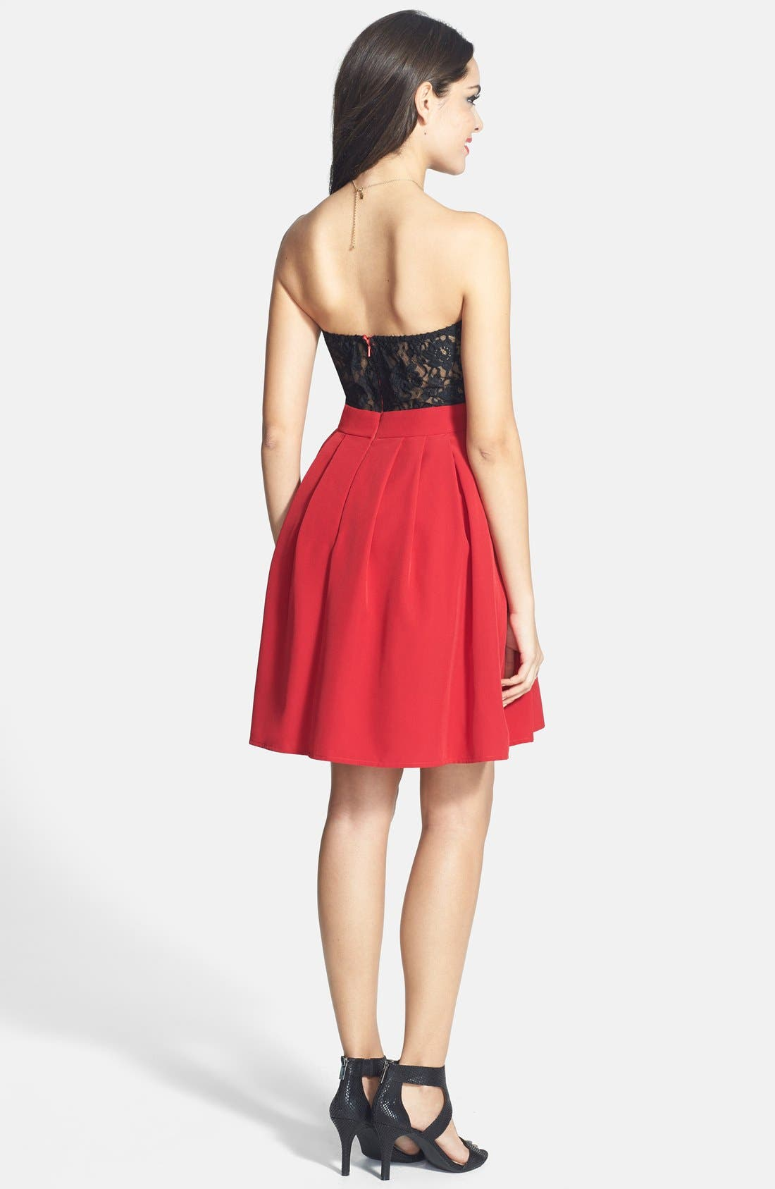 Alternate Image 2  - a. drea Lace Back Fit & Flare Dress (Juniors)