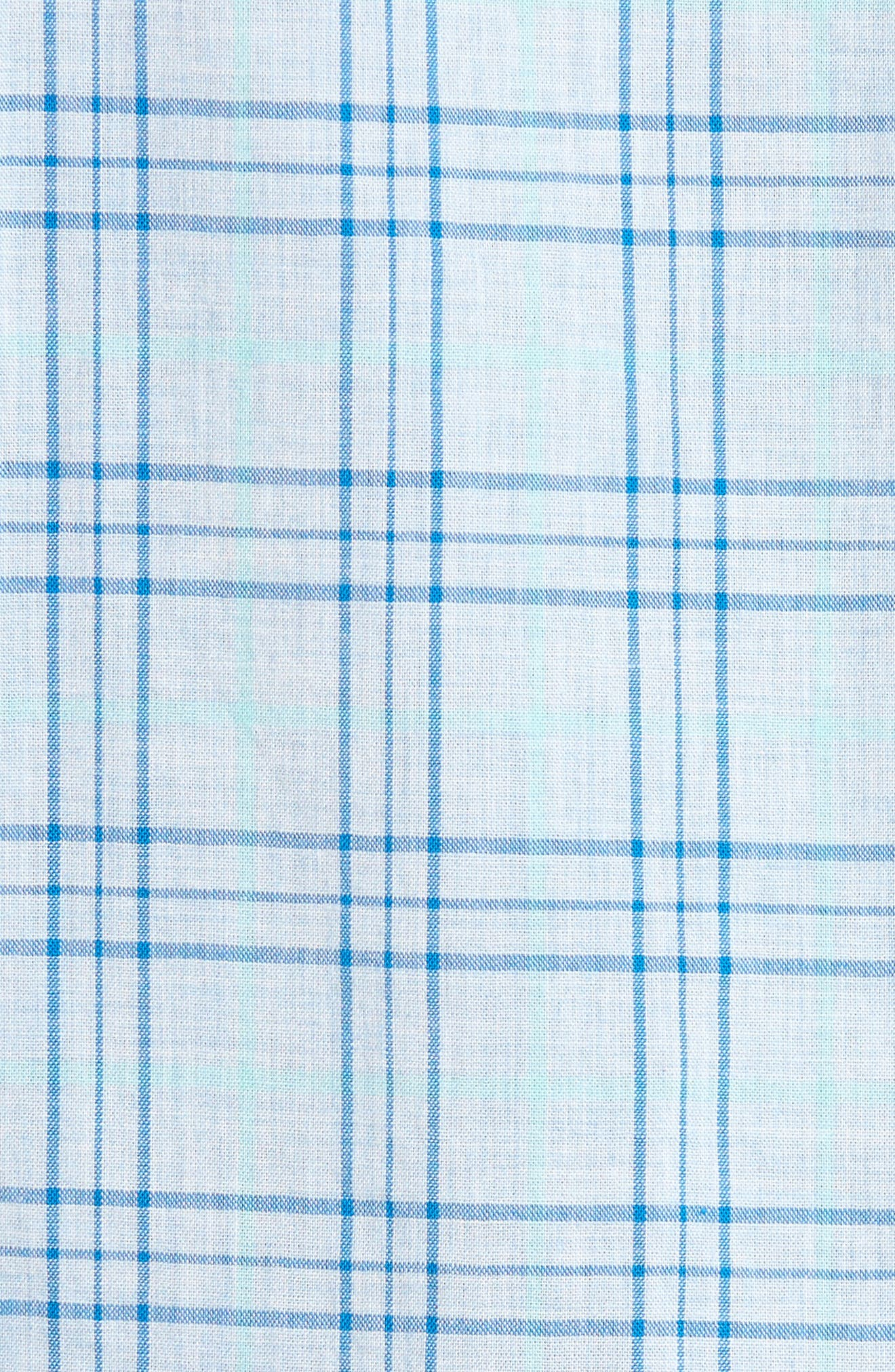 Slim Fit Plaid Sport Shirt,                             Alternate thumbnail 5, color,                             Light Blue Plaid