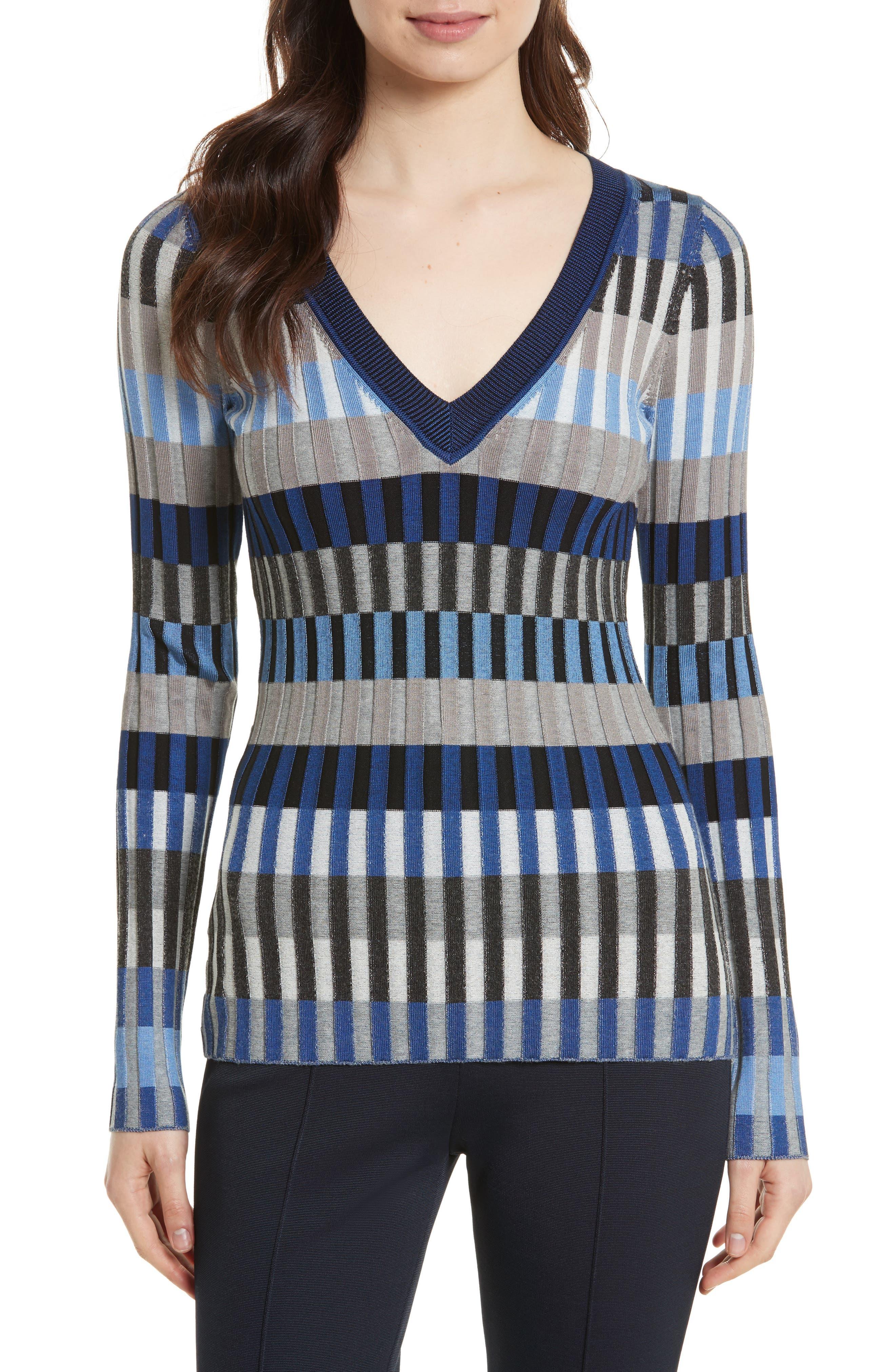 Stripe Rib Knit Sweater,                             Main thumbnail 1, color,                             Ash Combo