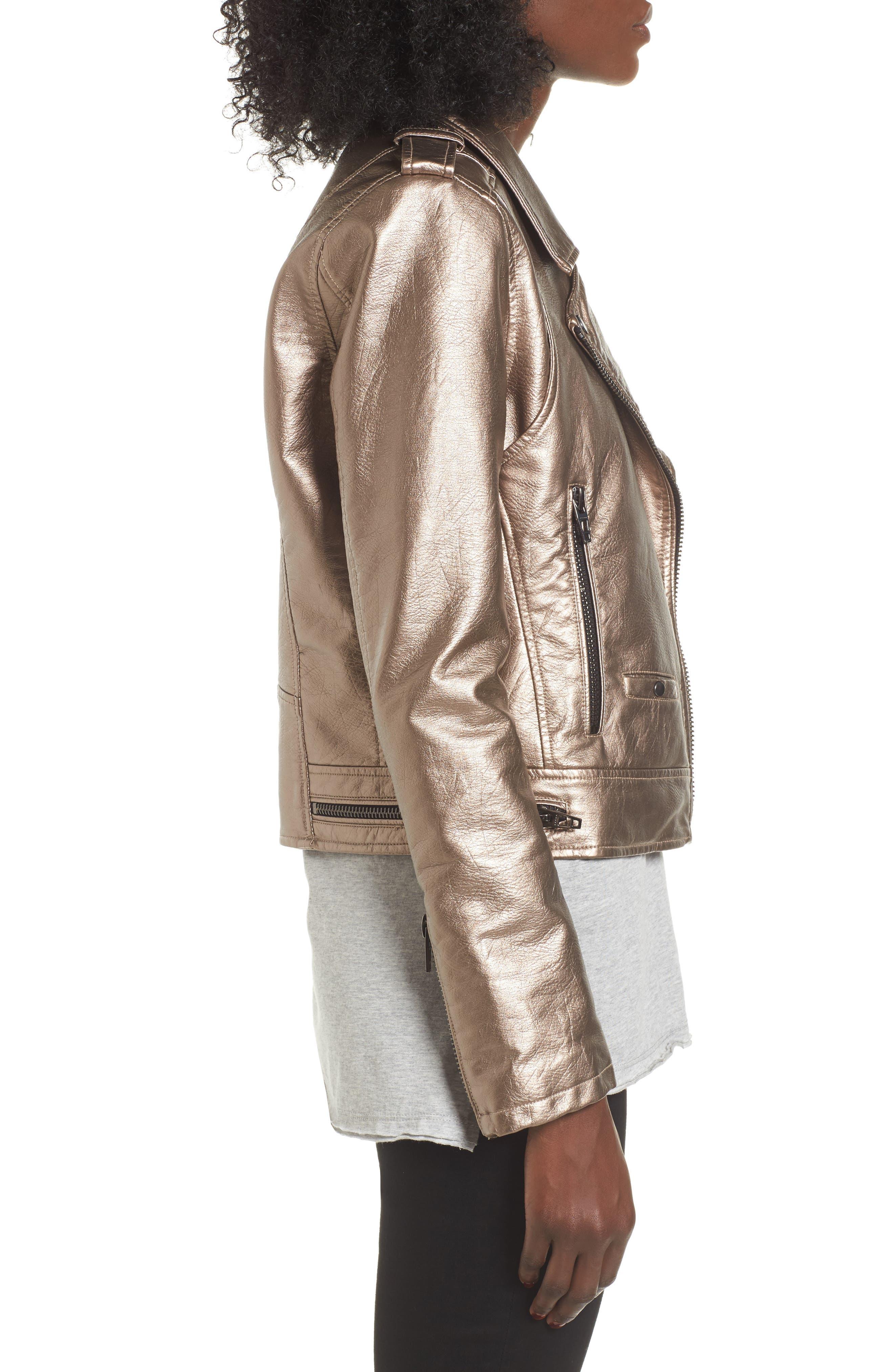 Metallic Faux Leather Moto Jacket,                             Alternate thumbnail 3, color,                             Silver Glow