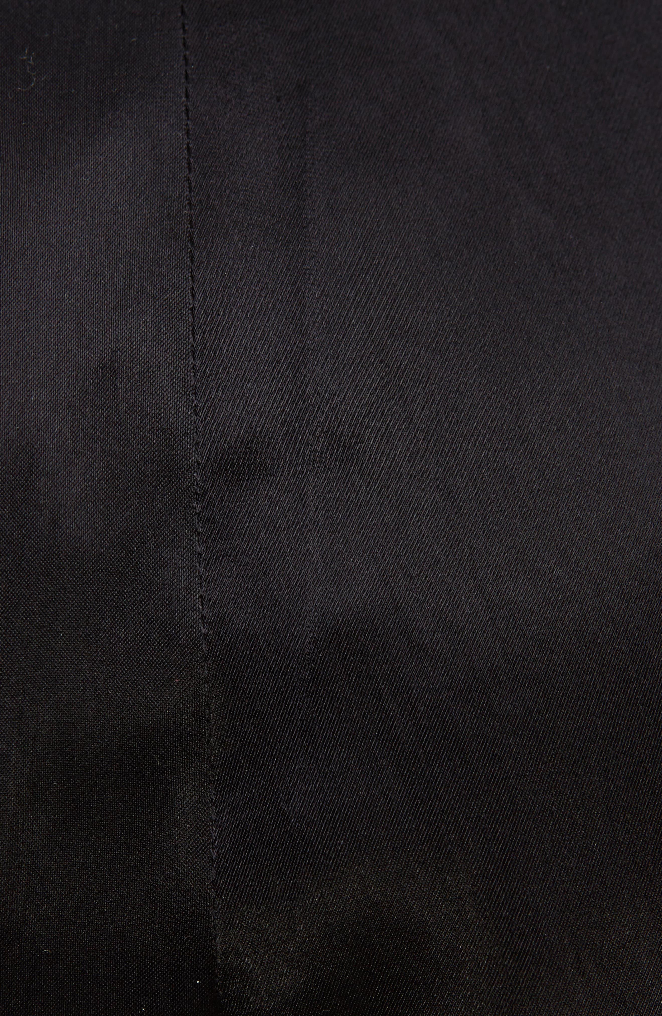 Pleated Satin Crop Pants,                             Alternate thumbnail 3, color,                             Black