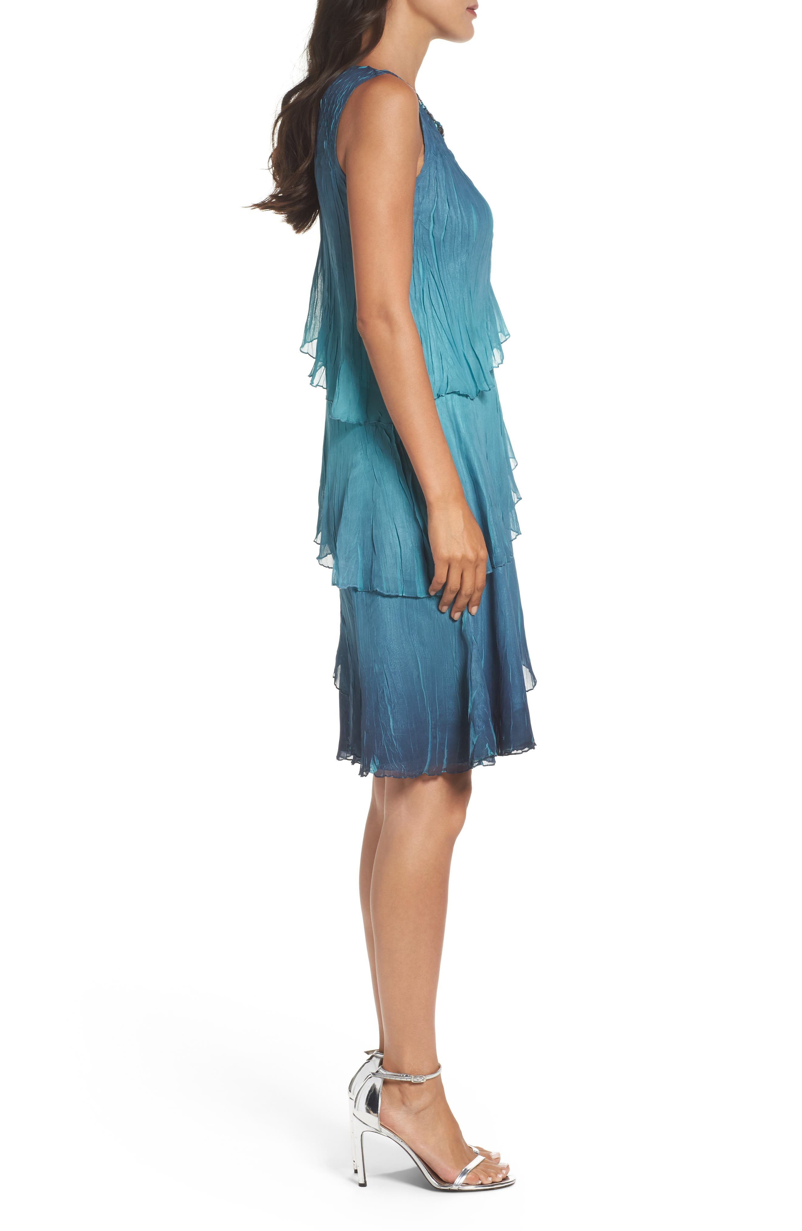 Tiered Chiffon Shift Dress with Shawl,                             Alternate thumbnail 3, color,                             Marine Night Ombre